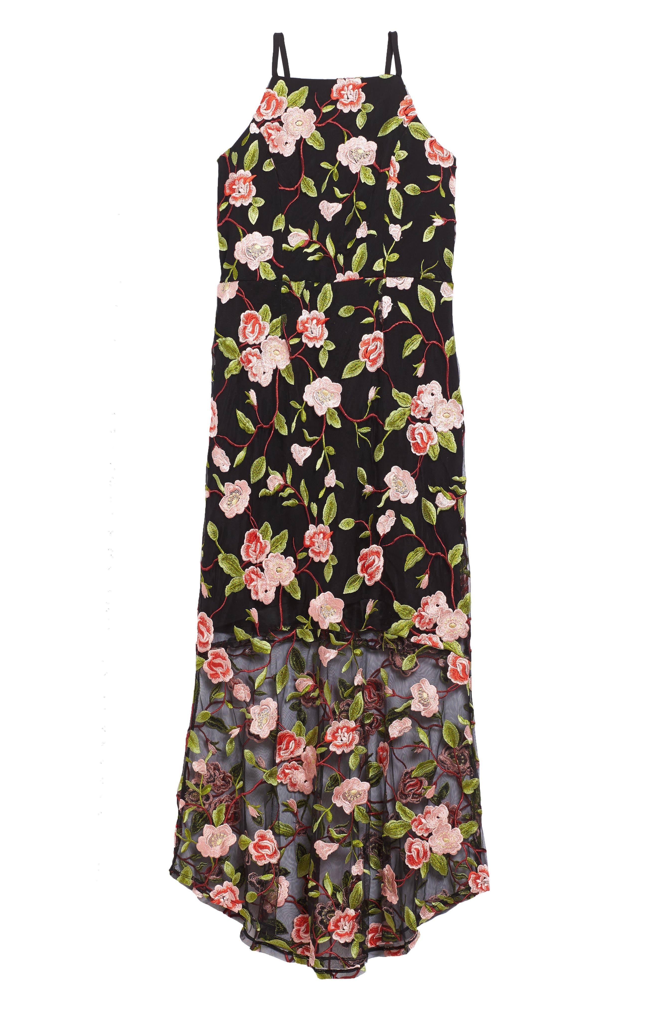 Floral Embroidered Slip Dress,                         Main,                         color, Black