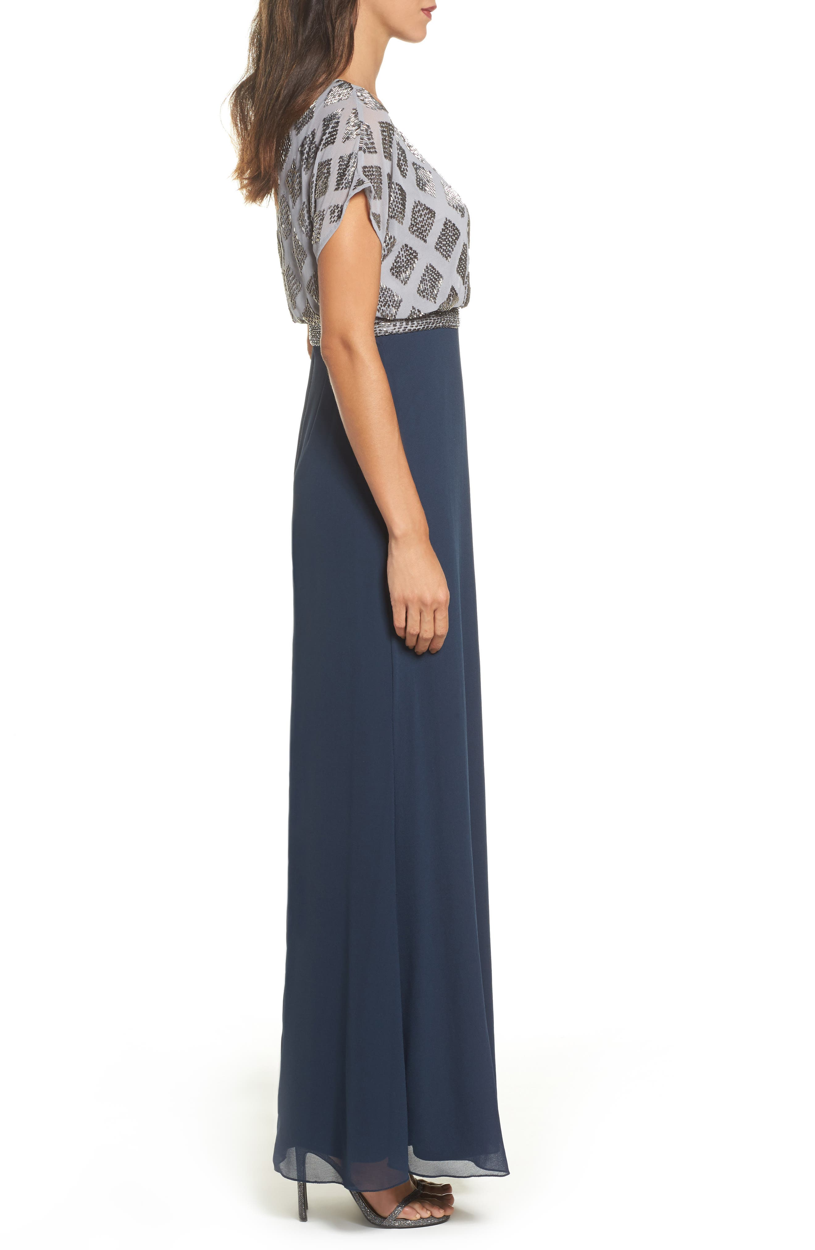Beaded Colorblock Blouson Gown,                             Alternate thumbnail 3, color,                             Silver/ Navy