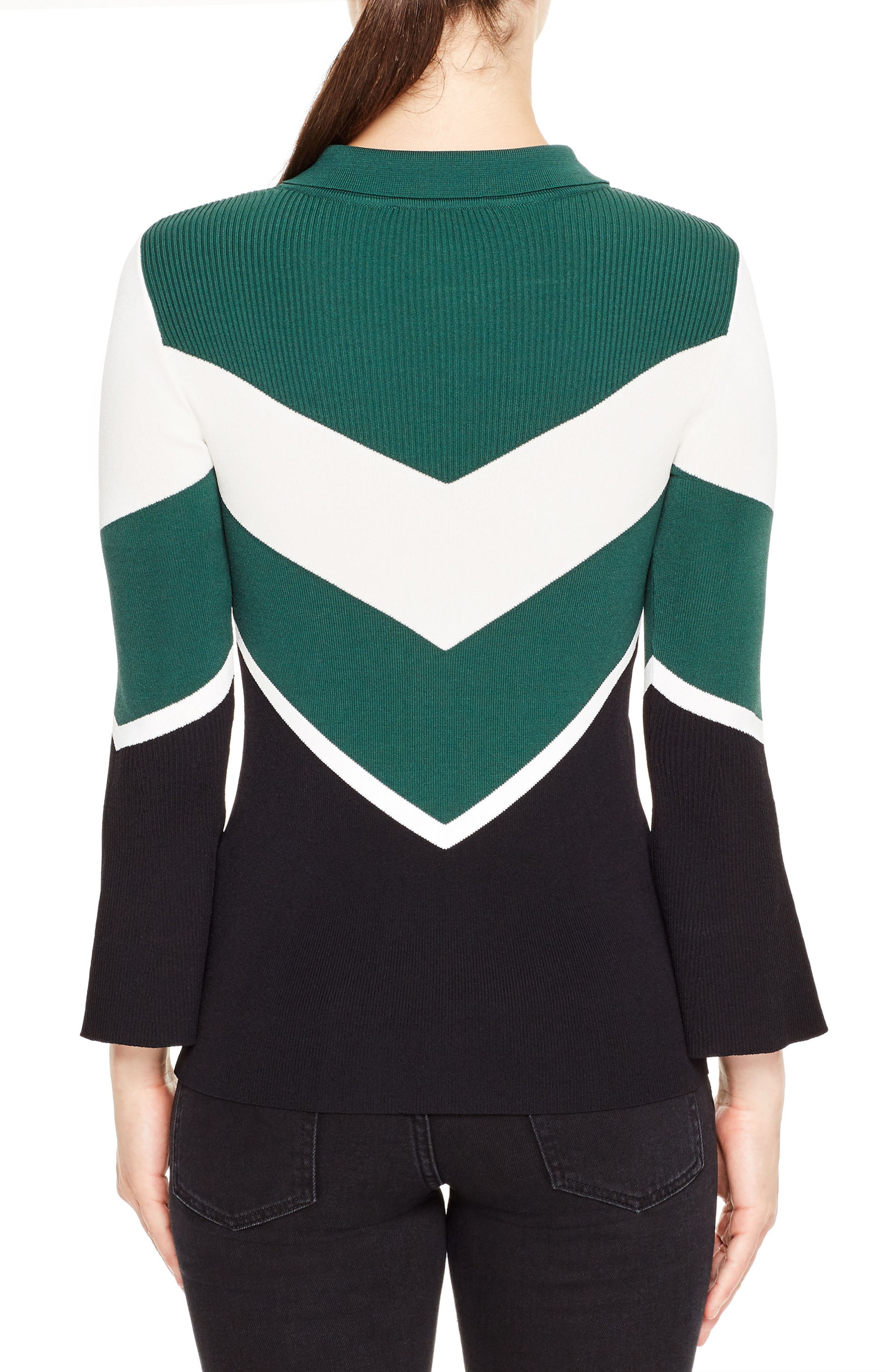 Evita Bell Sleeve Sweater,                             Alternate thumbnail 2, color,                             Forest Green