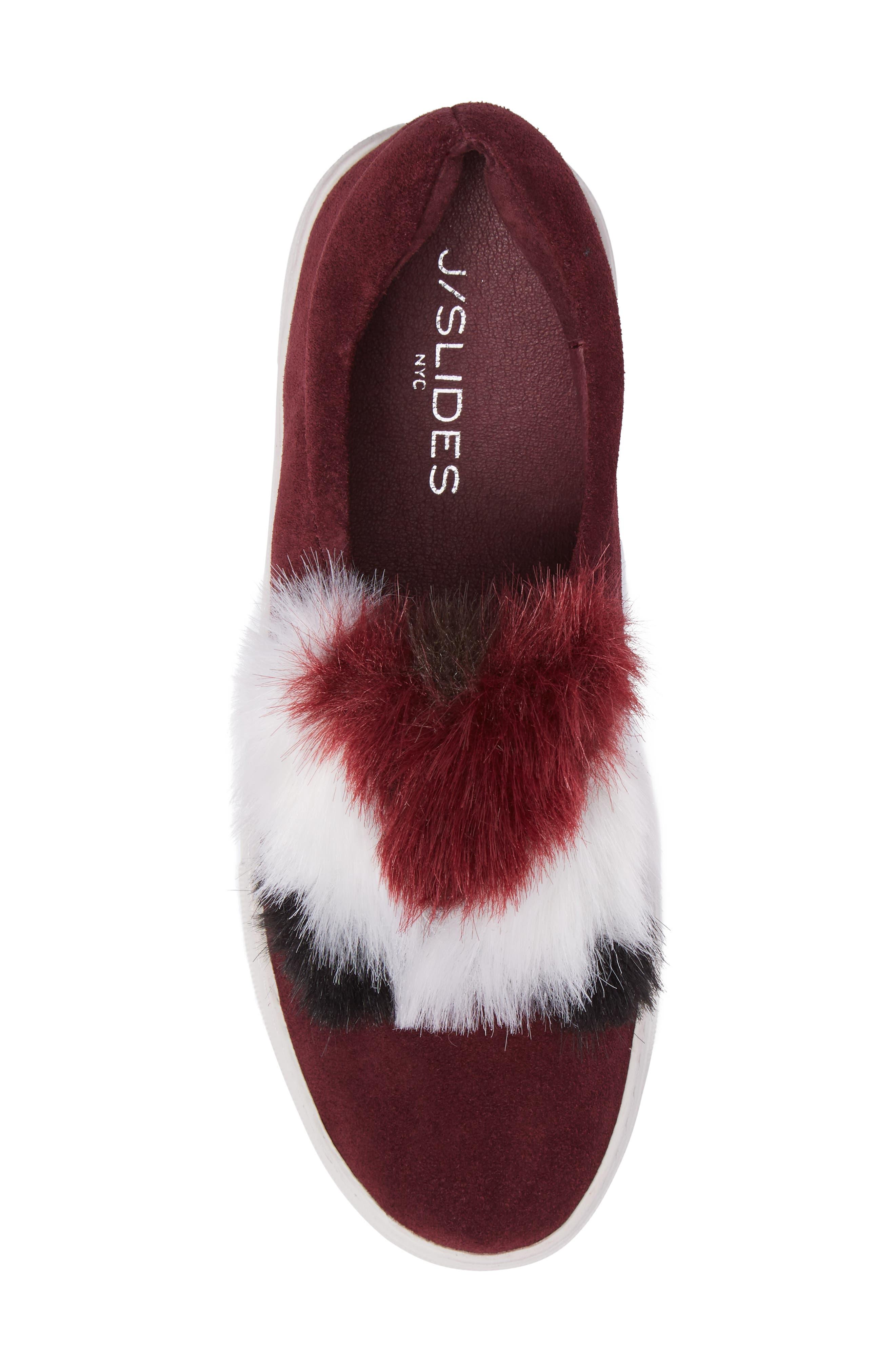 Alexi Faux Fur Slip-On Sneaker,                             Alternate thumbnail 5, color,                             Burgundy Suede
