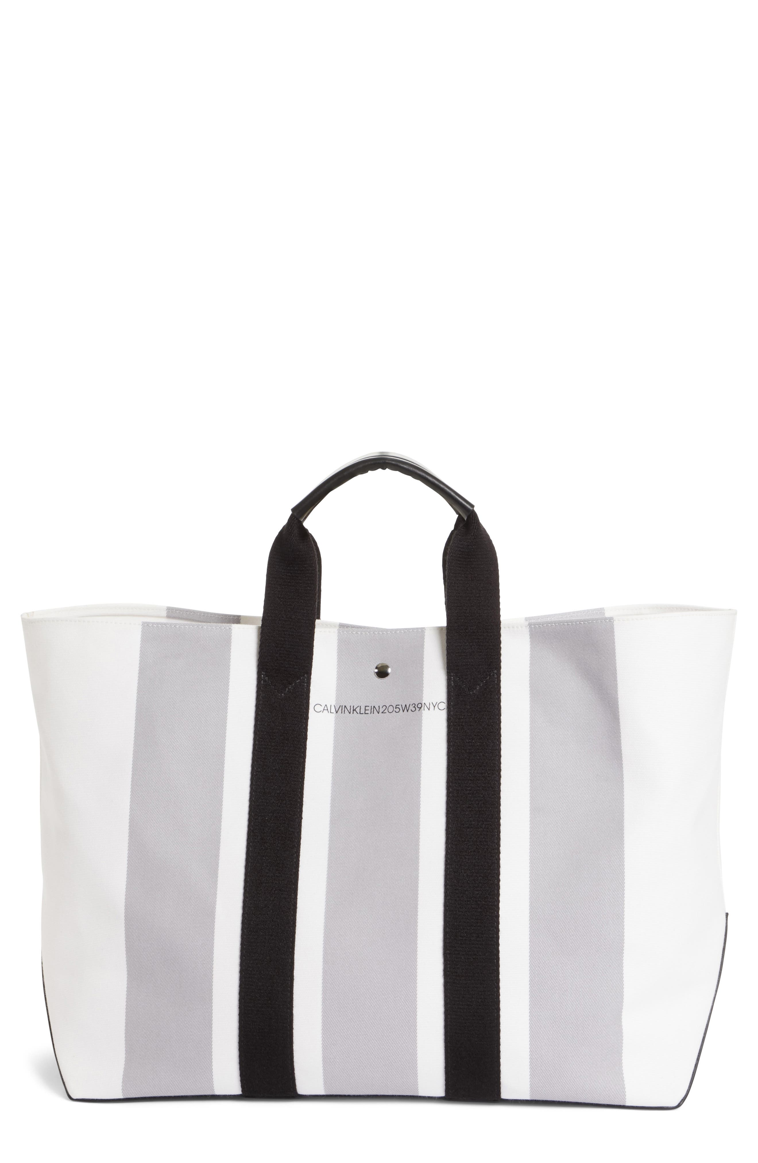 Stripe Canvas Tote,                         Main,                         color, White/ Grey/ Black