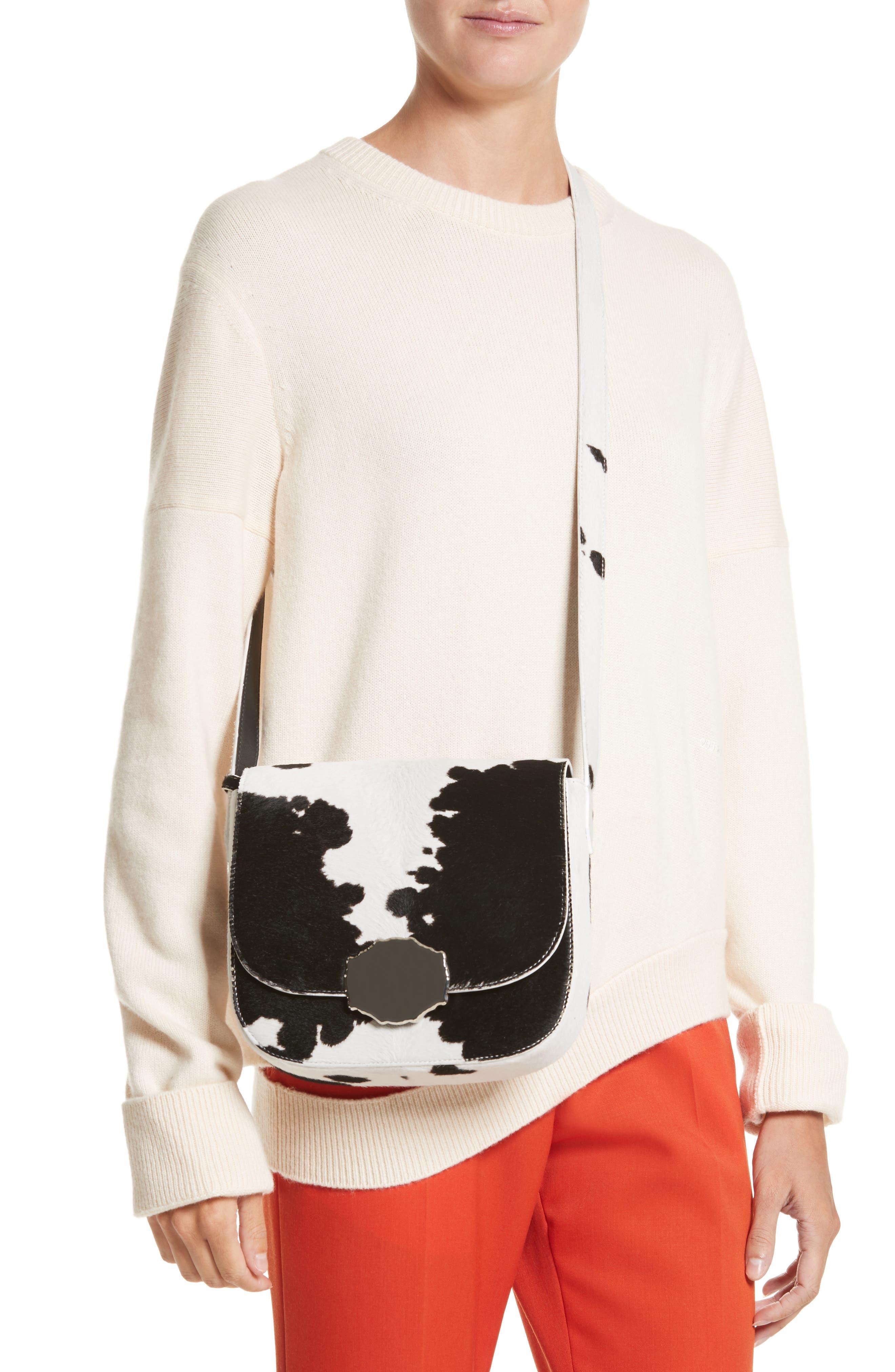 Genuine Calf Hair Shoulder Bag,                             Alternate thumbnail 2, color,                             White/ Black