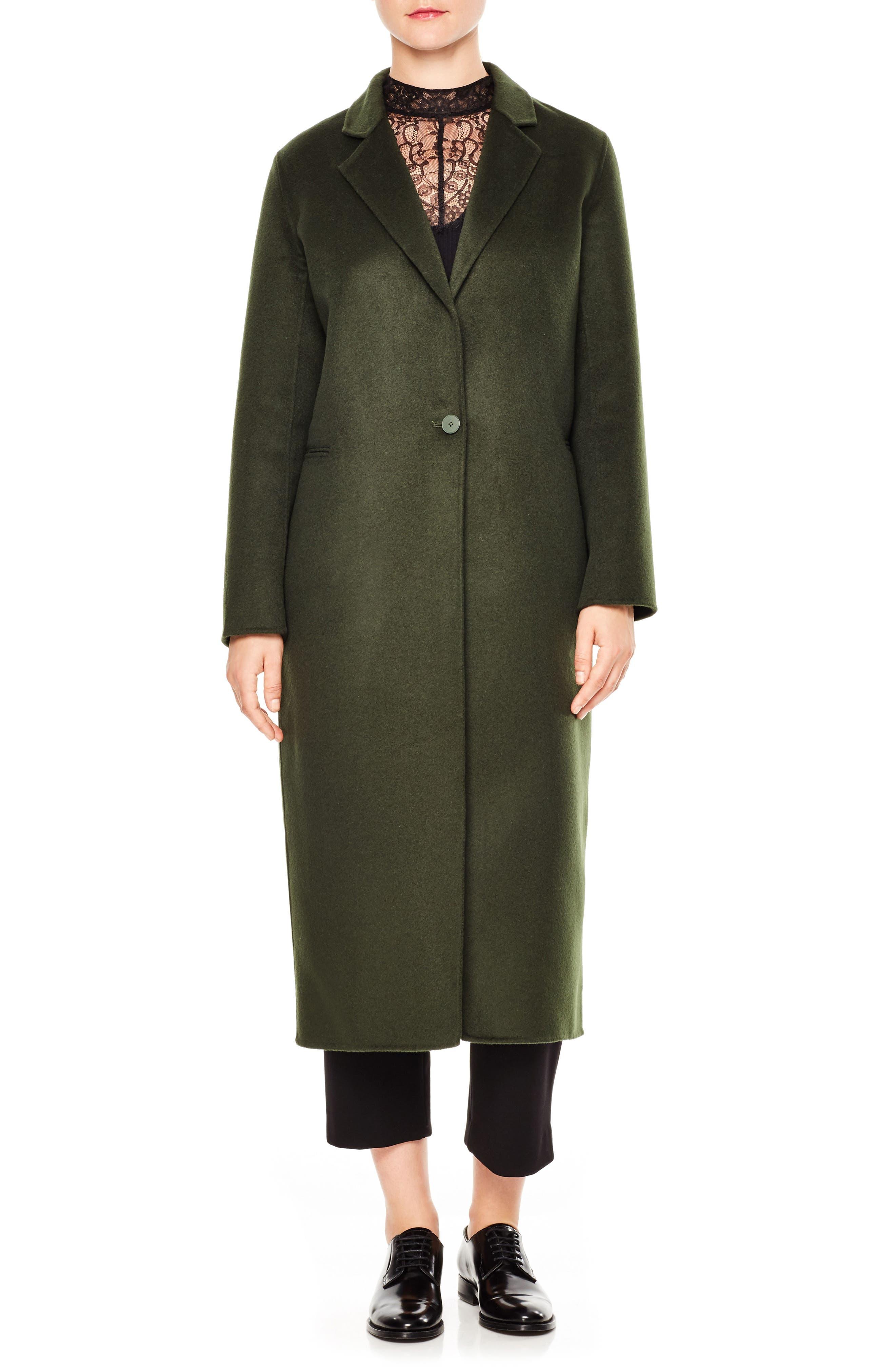 sandro Ekin Wool Blend Midi Coat