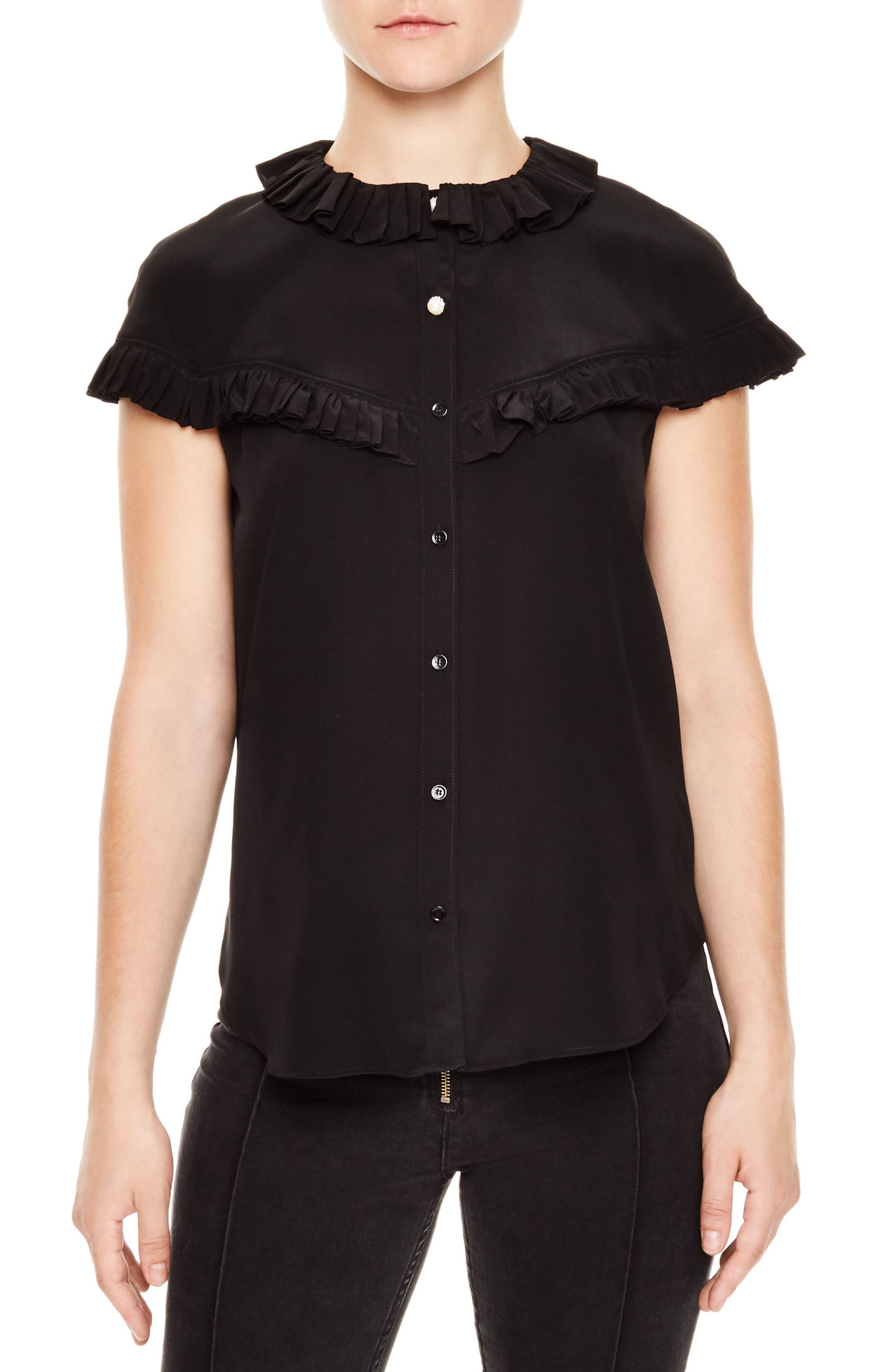 sandro Brenda Silk Shirt