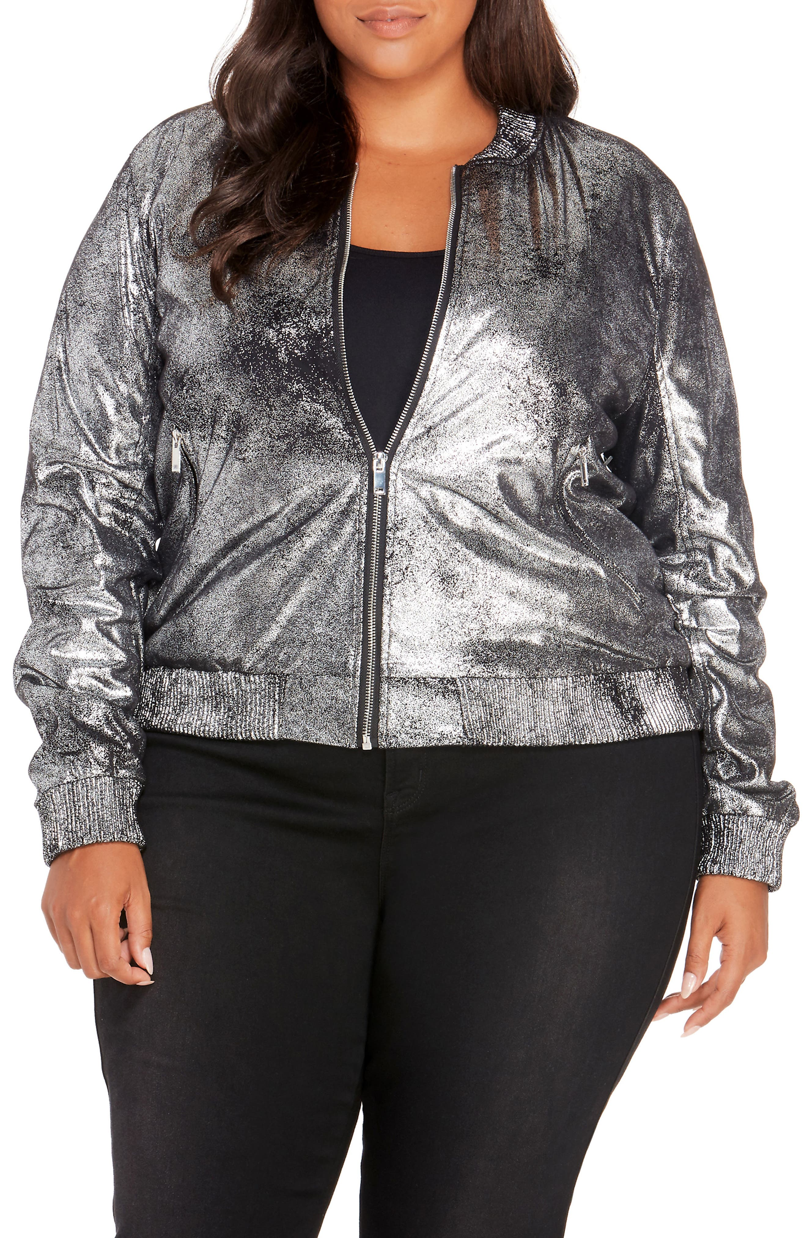 Metallic Bomber Jacket,                         Main,                         color, Black/ Silver
