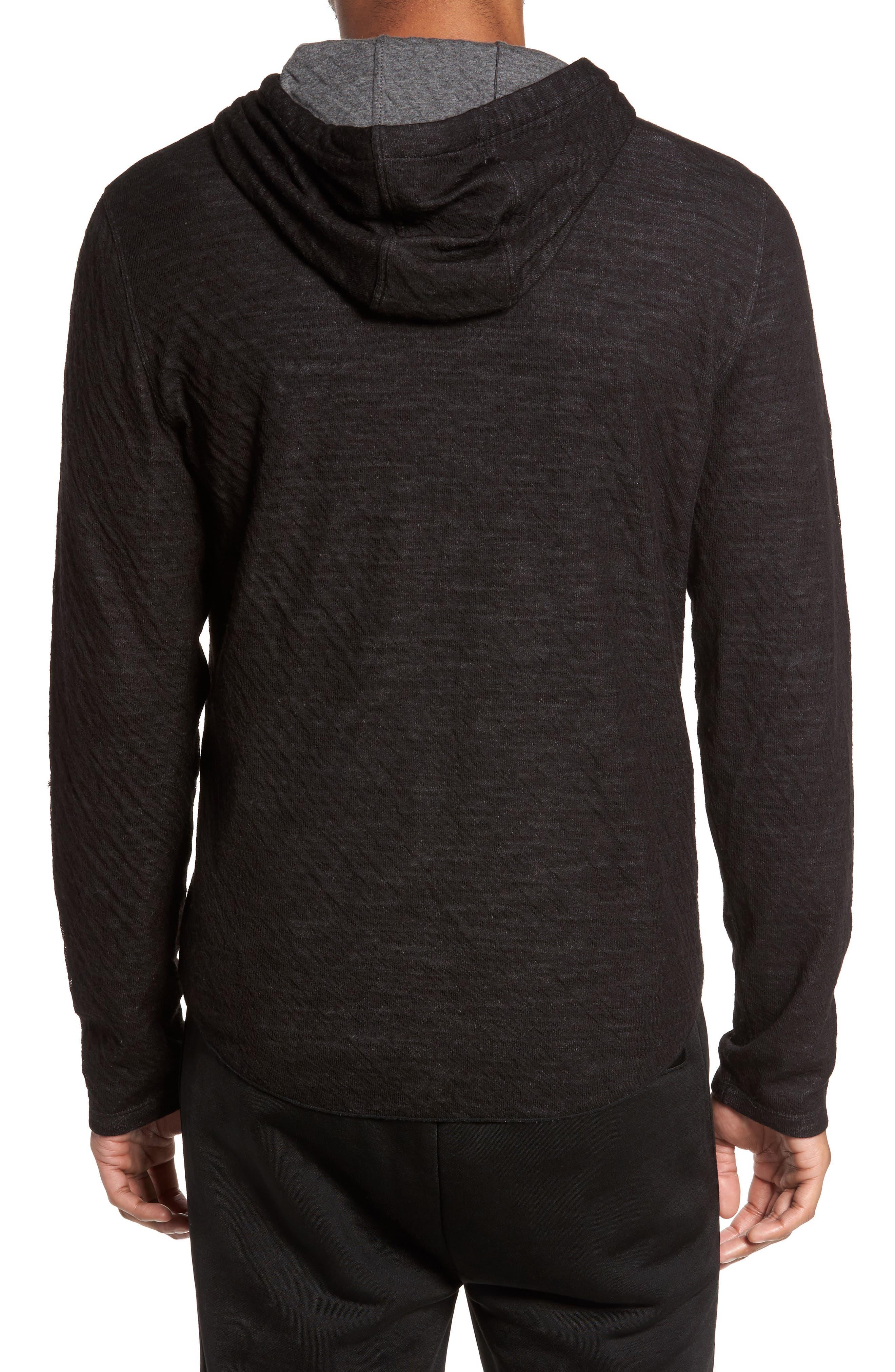 Contrast Double Knit Cotton & Wool Hoodie,                             Alternate thumbnail 2, color,                             Black/ H Carbon