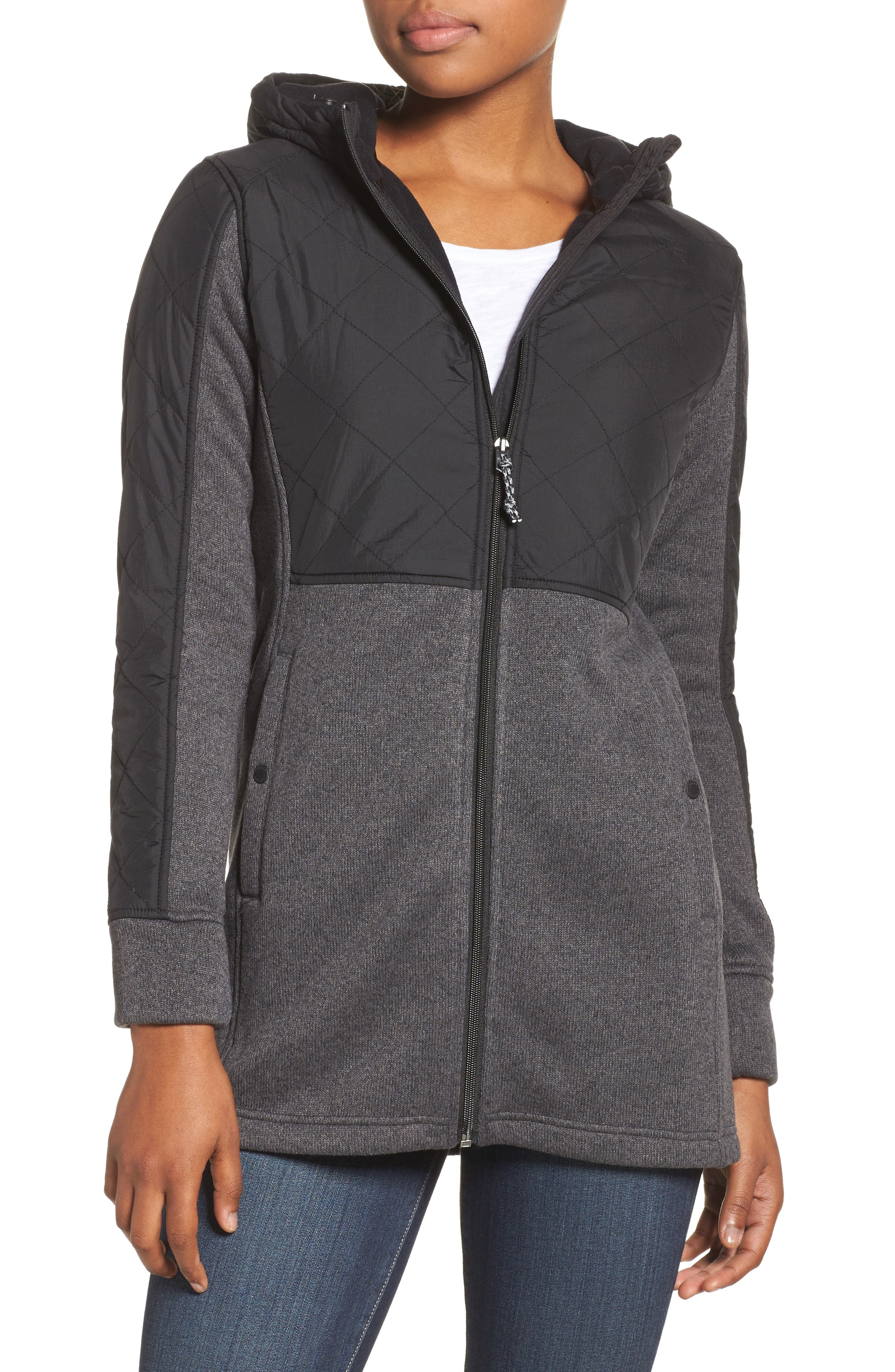Embry Water Repellent Hooded Jacket,                         Main,                         color, True Black Heather