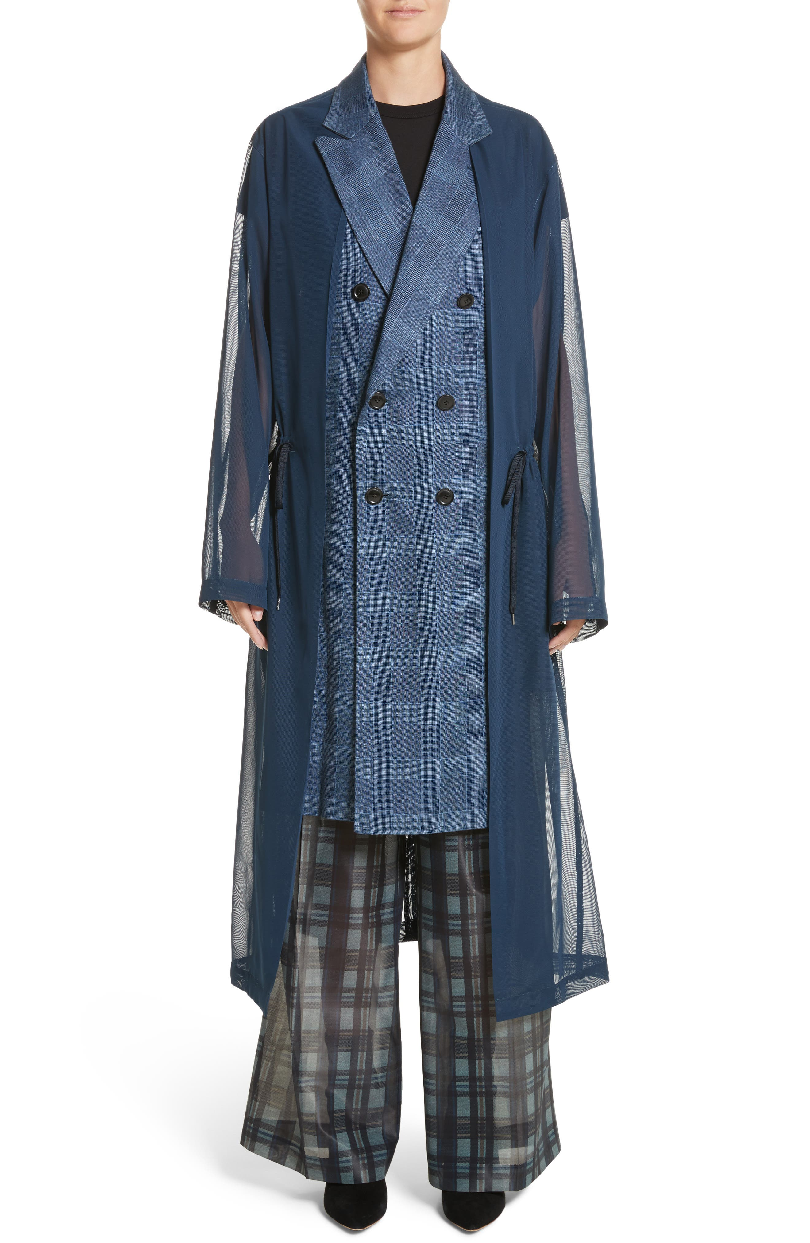 Double Breasted Mesh Coat,                         Main,                         color, Navy
