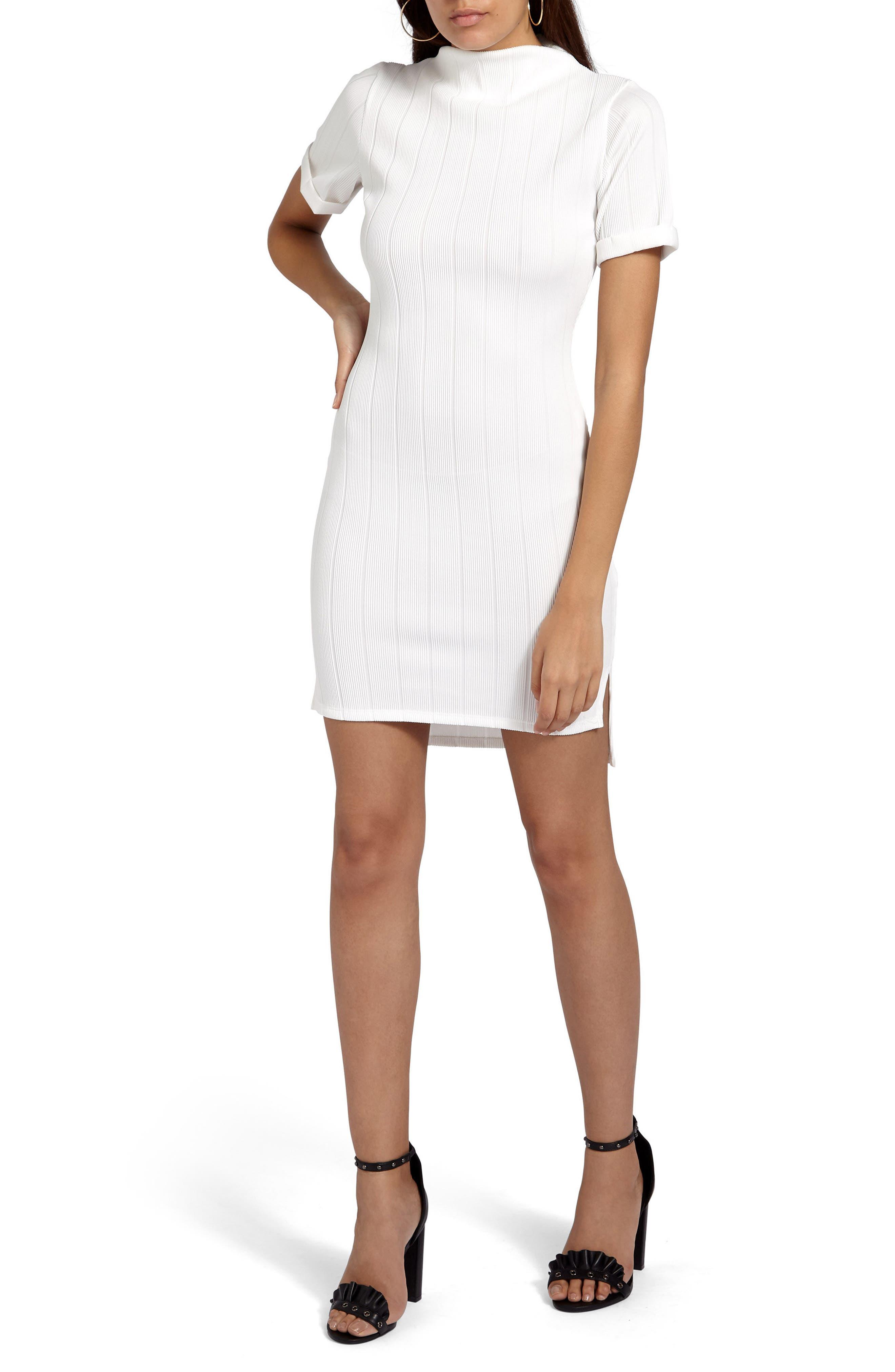 Mock Neck Sheath Dress,                         Main,                         color, White