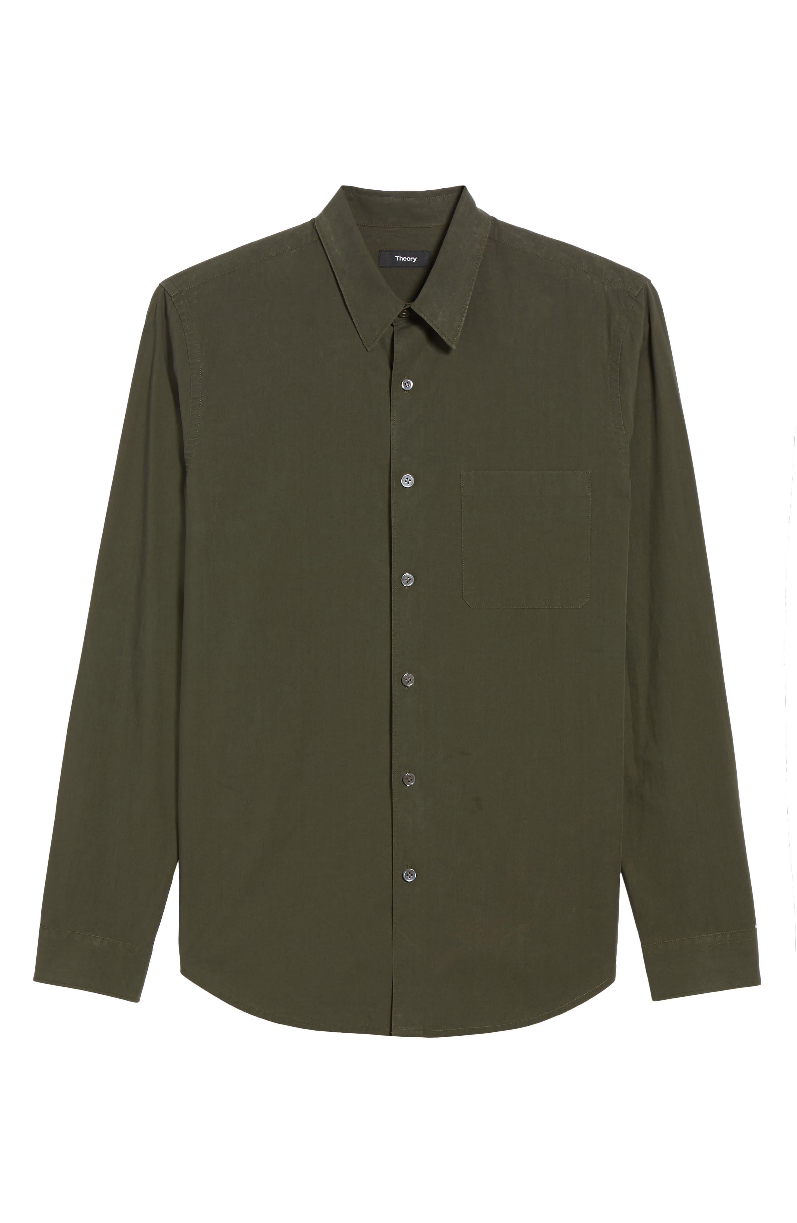 Rammy Trim Fit Solid Sport Shirt,                             Alternate thumbnail 6, color,                             Mantis