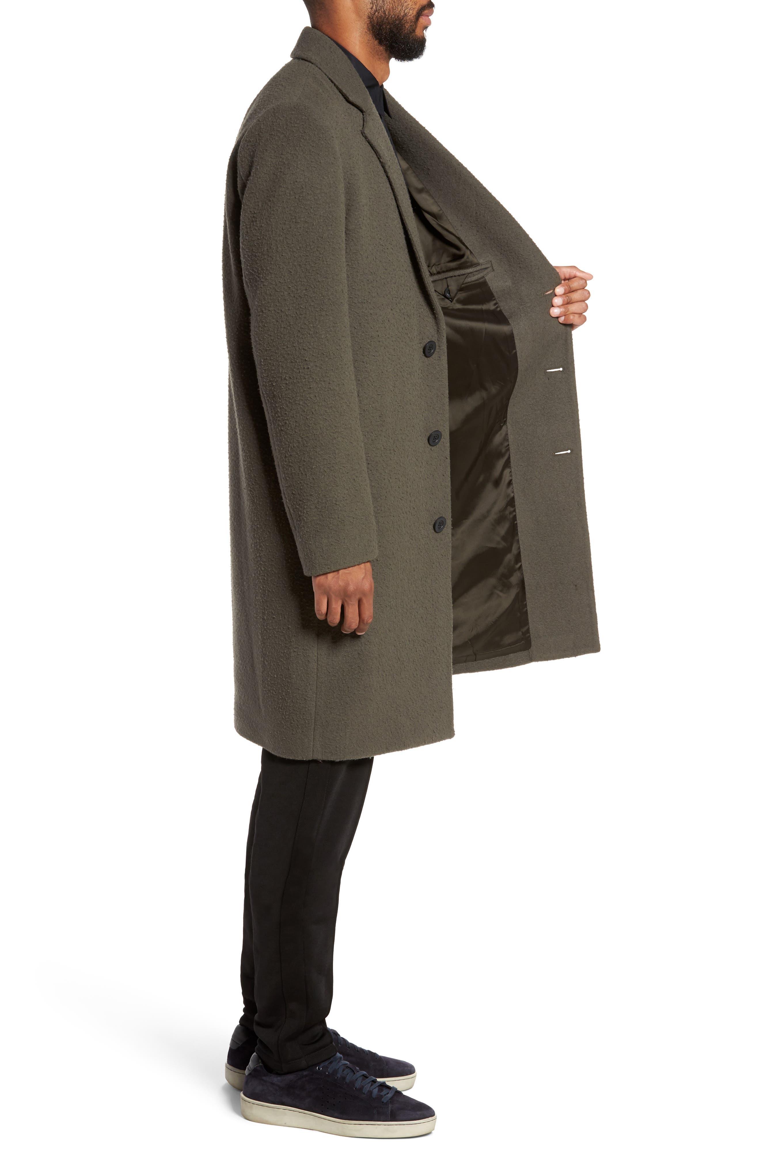 Distressed Wool Blend Car Coat,                             Alternate thumbnail 3, color,                             Olive