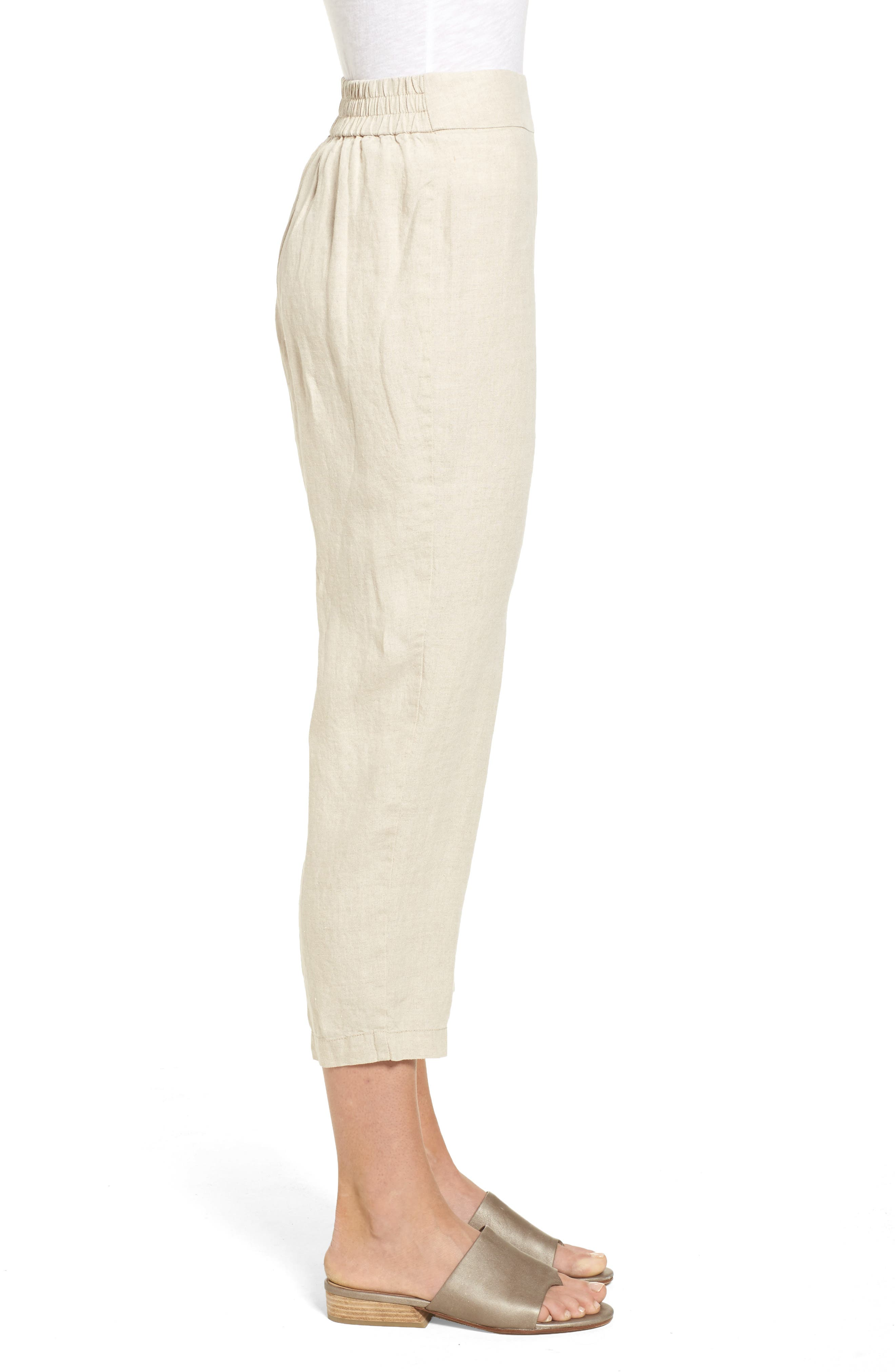 Organic Linen Crop Pants,                             Alternate thumbnail 3, color,                             Unnatural