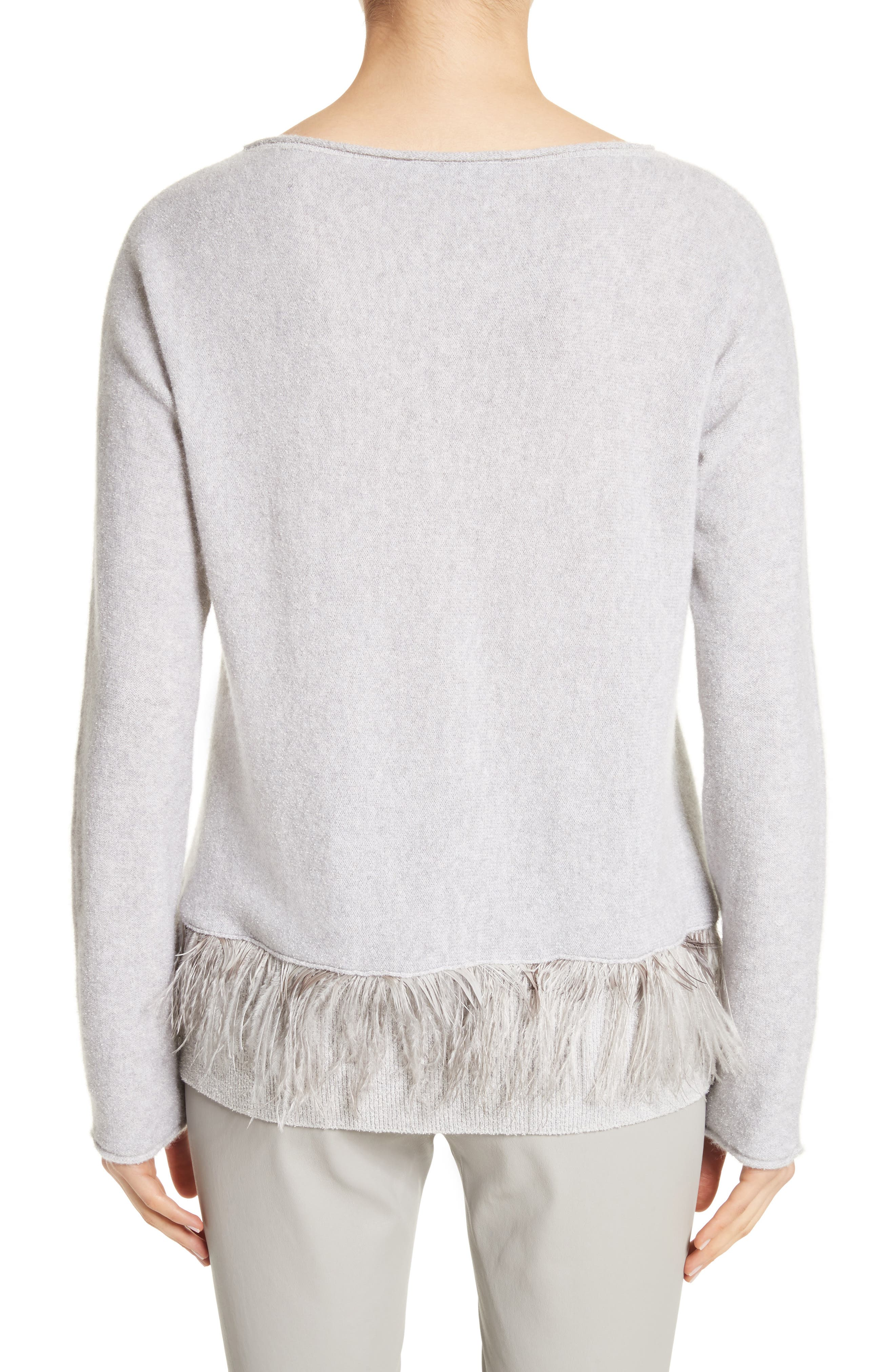 Cashmere Blend Sweater with Genuine Ostrich & Turkey Feather Trim,                             Alternate thumbnail 2, color,                             Grey
