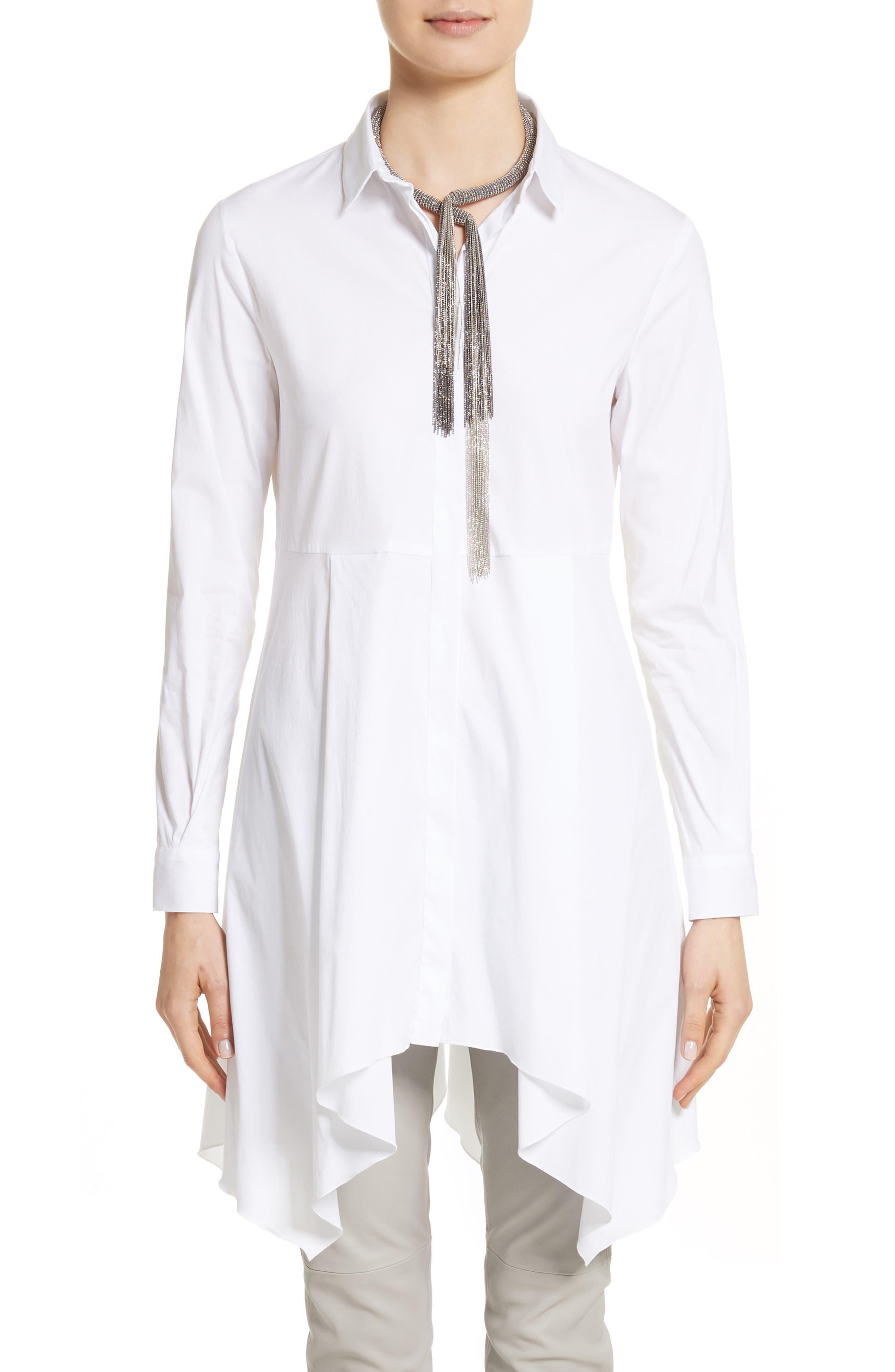 Handkerchief Hem Poplin Blouse,                         Main,                         color, Pure White