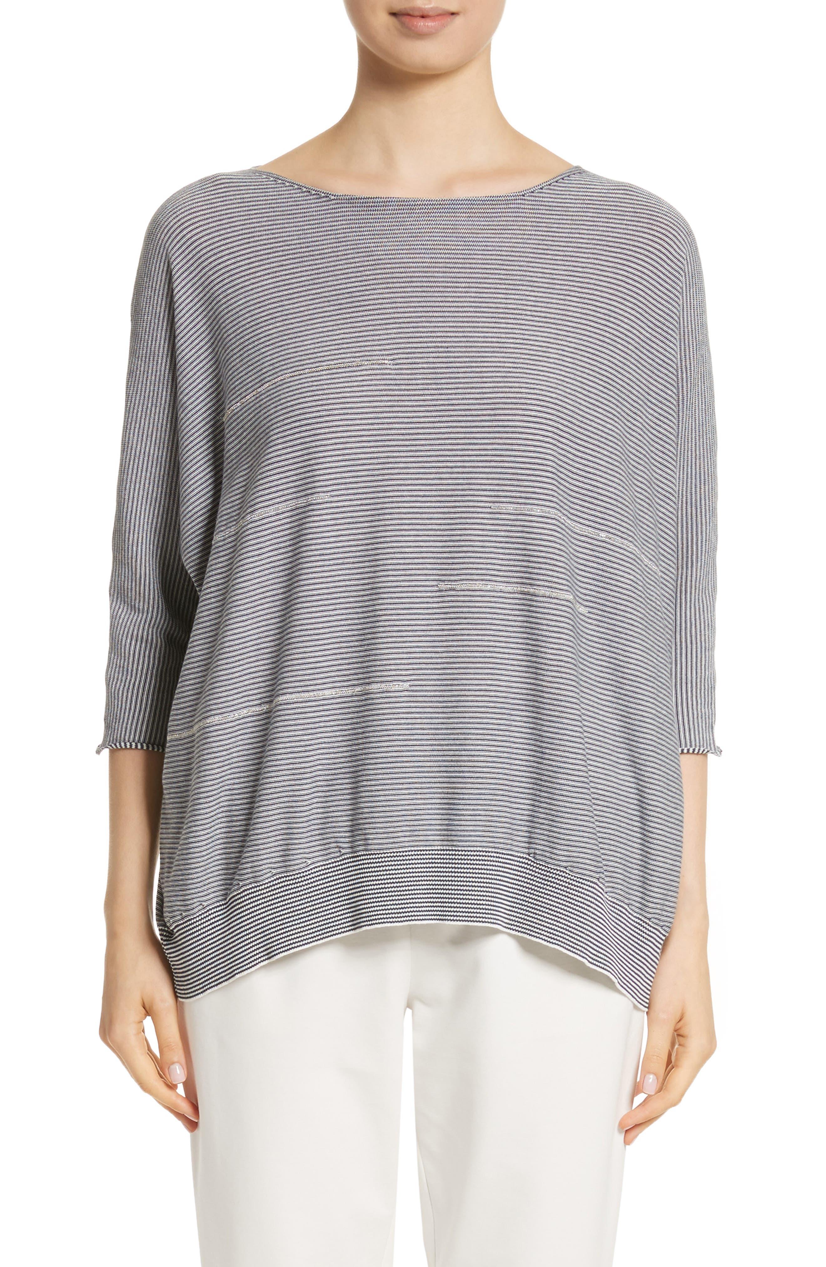 Fabiana Filippi Embellished Stripe Knit Cotton Top