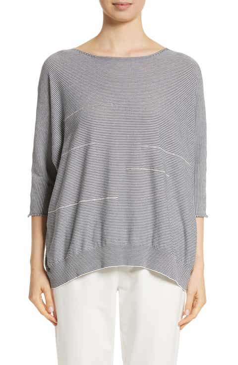 Fabiana Filippi Embellished Stripe Knit Cotton Top