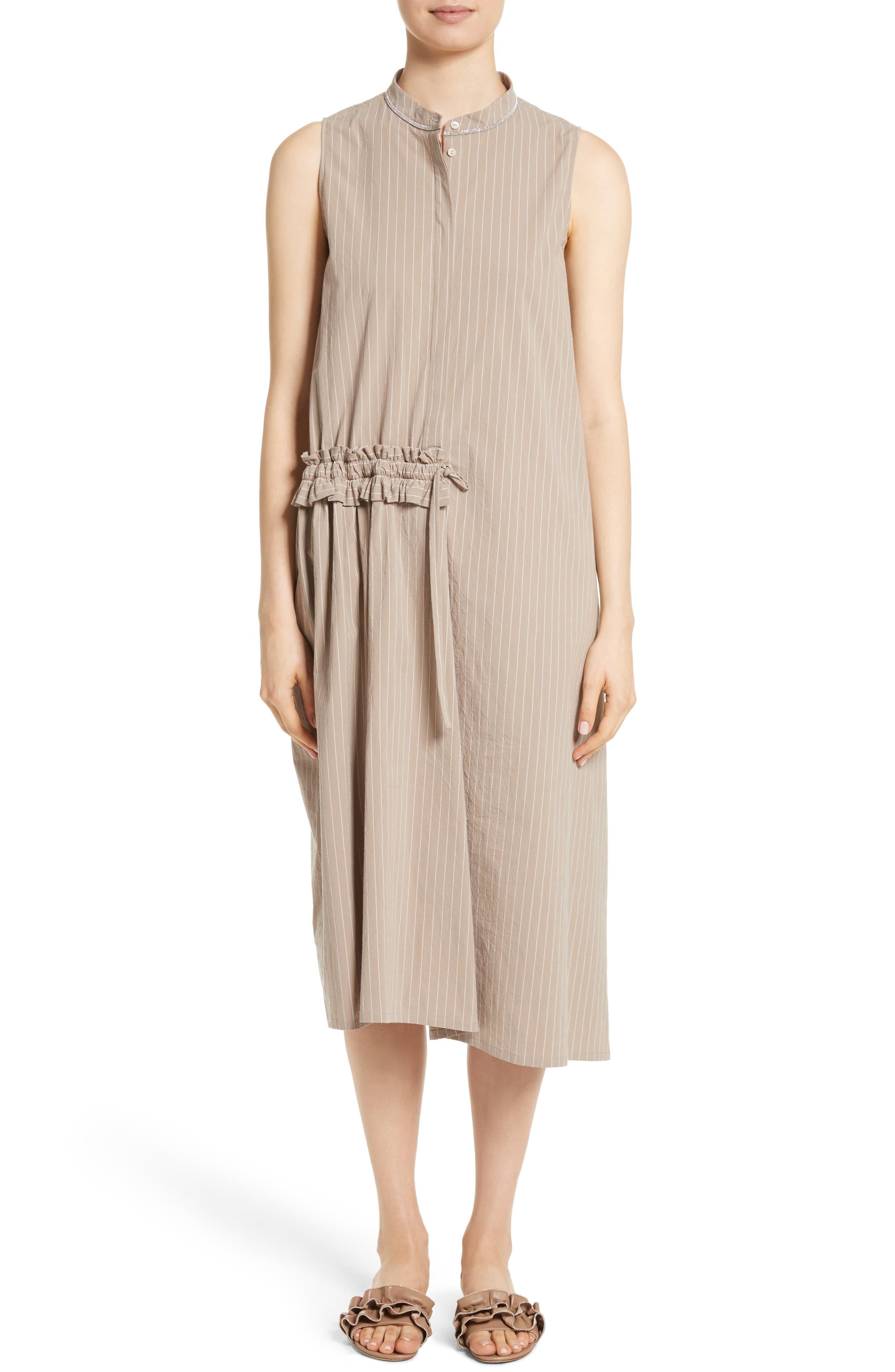 Main Image - Fabiana Filippi Asymmetrical Ruffle Pinstripe Dress