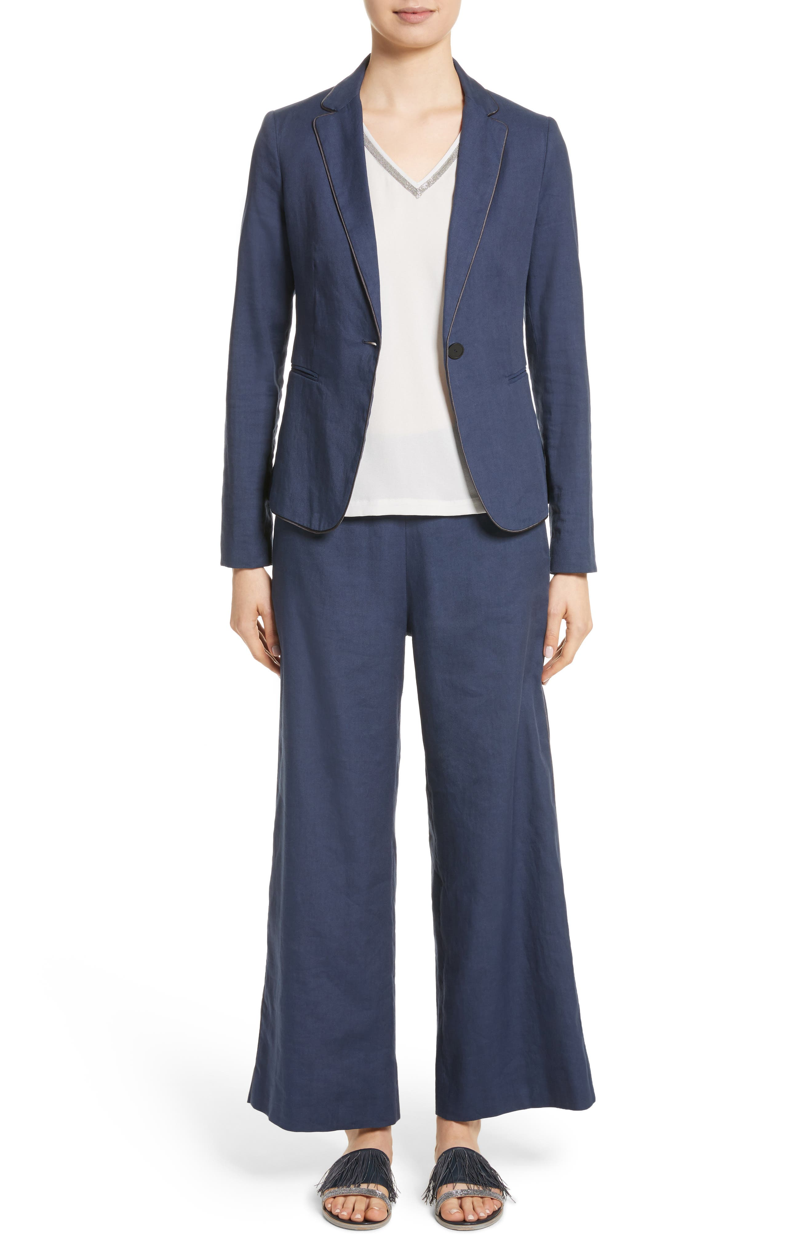 Piped Linen & Cotton Blend Blazer,                             Alternate thumbnail 8, color,                             Navy