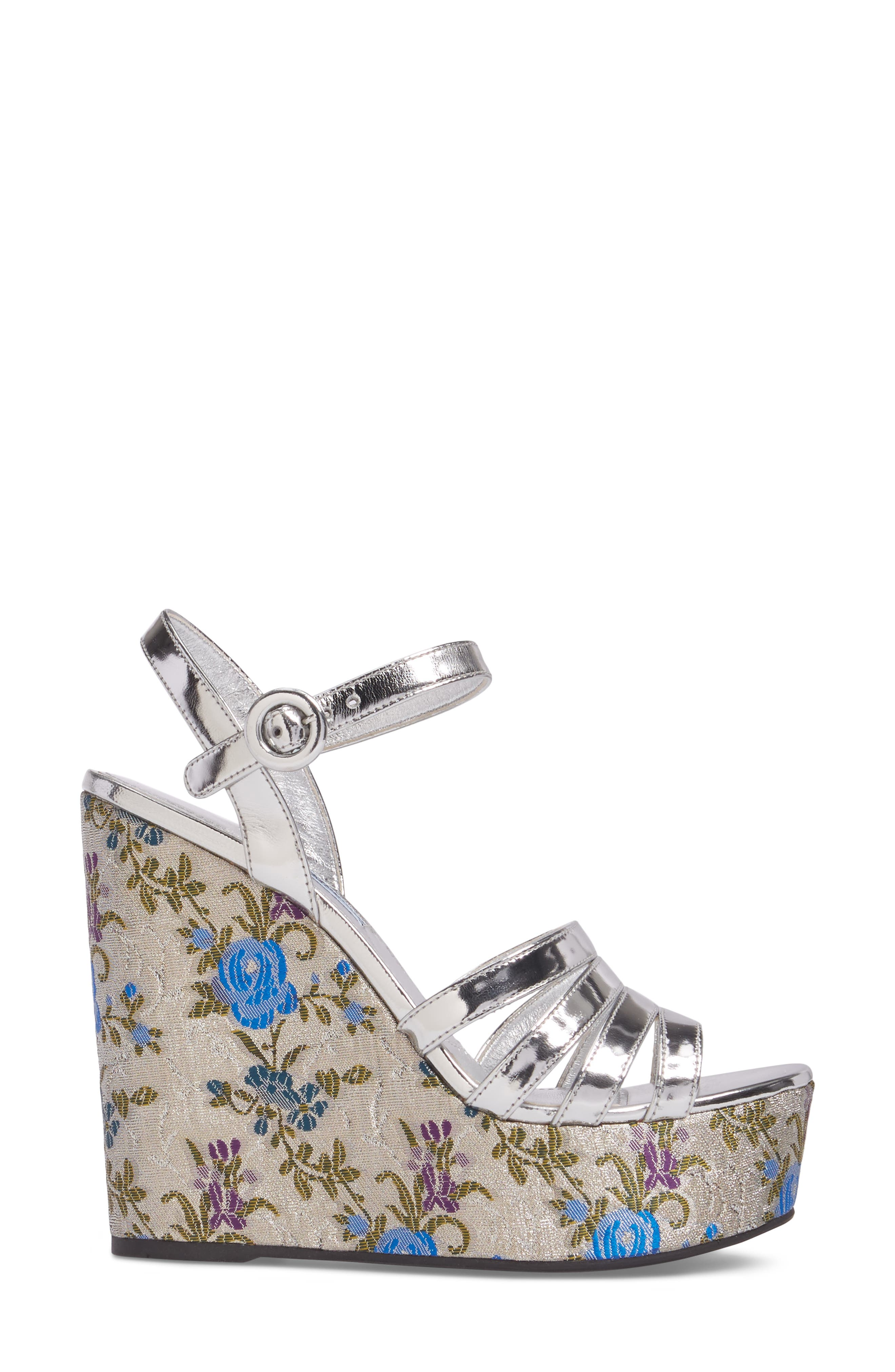 Floral Wedge Platform Sandals,                             Alternate thumbnail 3, color,                             Silver/ Blue