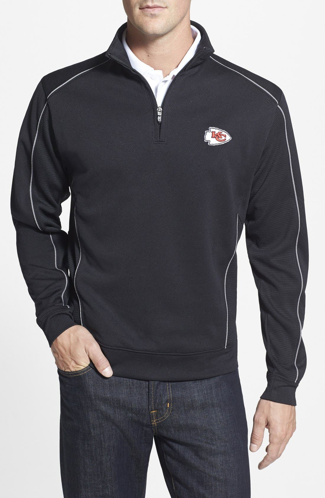 Cutter & Buck 'Kansas City Chiefs - Edge' DryTec Moisture Wicking Half Zip Pullover (Big & Tall)