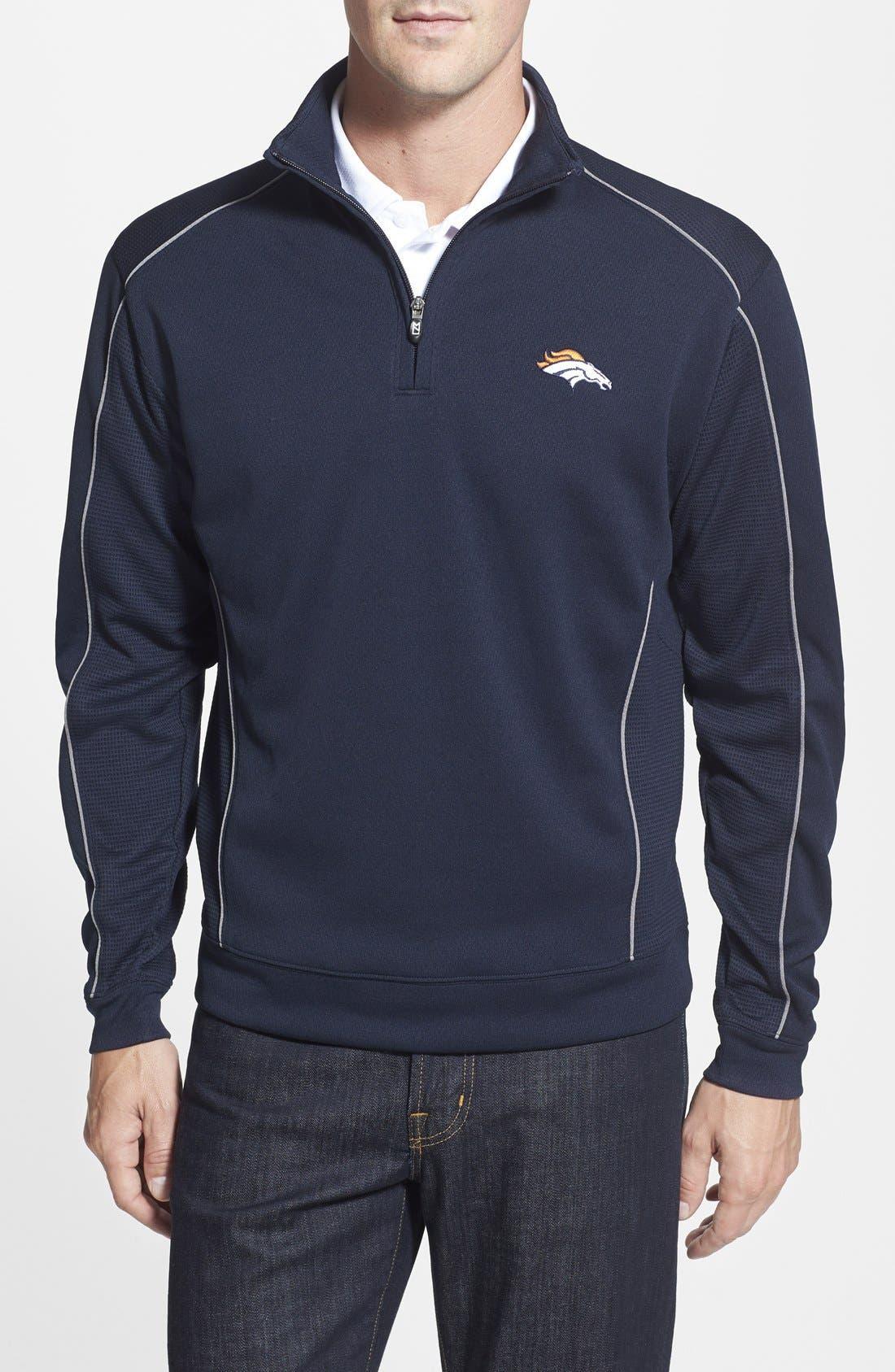 Denver Broncos - Edge DryTec Moisture Wicking Half Zip Pullover,                         Main,                         color, Navy Blue