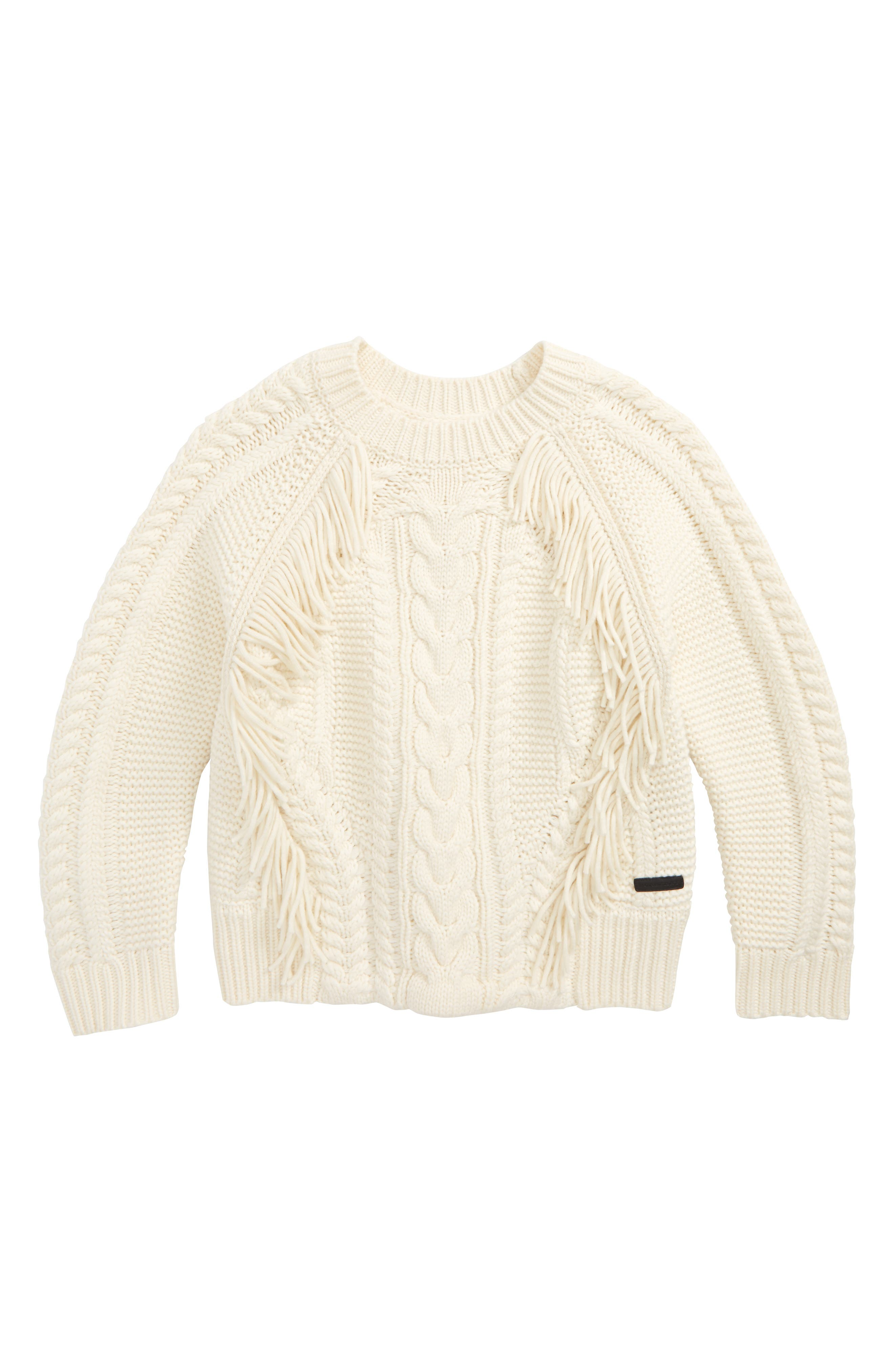 Alternate Image 1 Selected - Burberry Natasia Cable Knit Sweater (Little Girls & Big Girls)