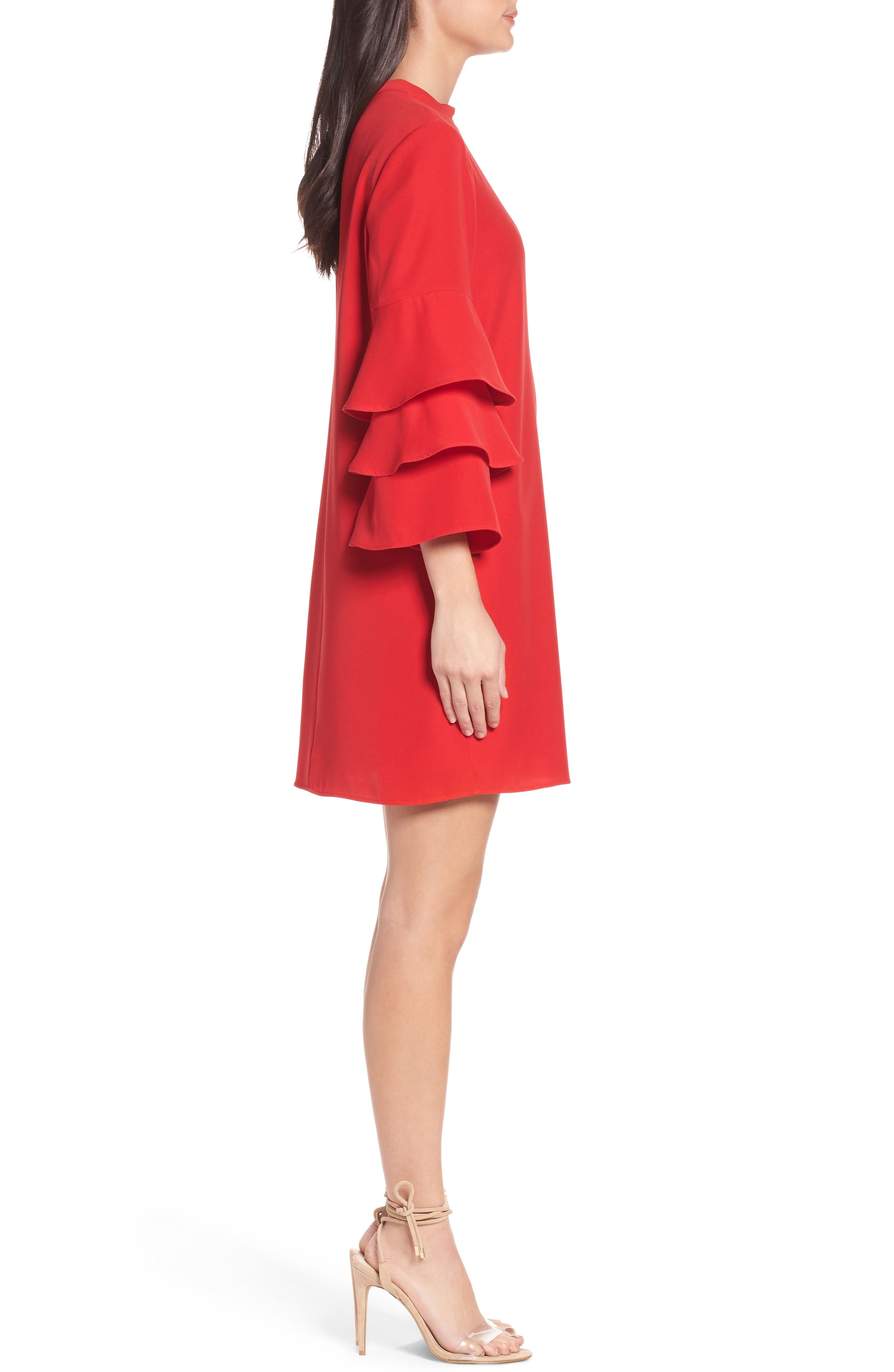 Ruffle Sleeve Shift Dress,                             Alternate thumbnail 3, color,                             Red Mars