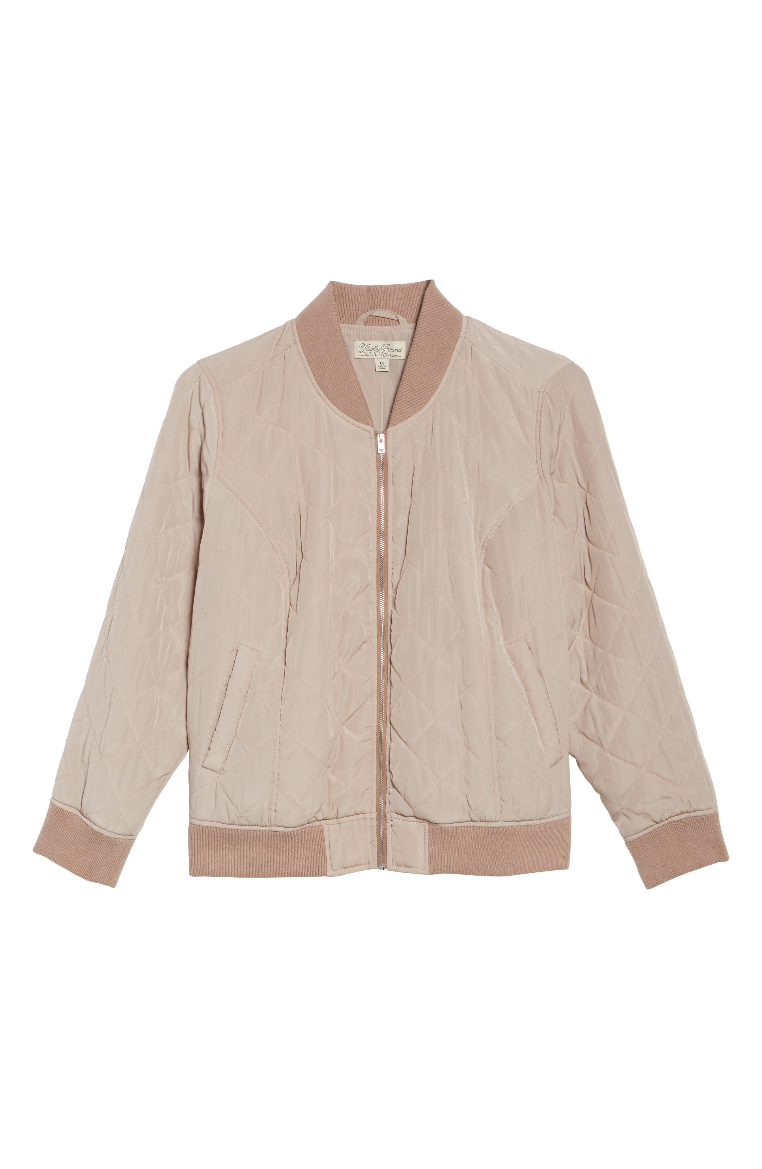 Alternate Image 6  - Lucky Brand Quilted Bomber Jacket (Plus Size)