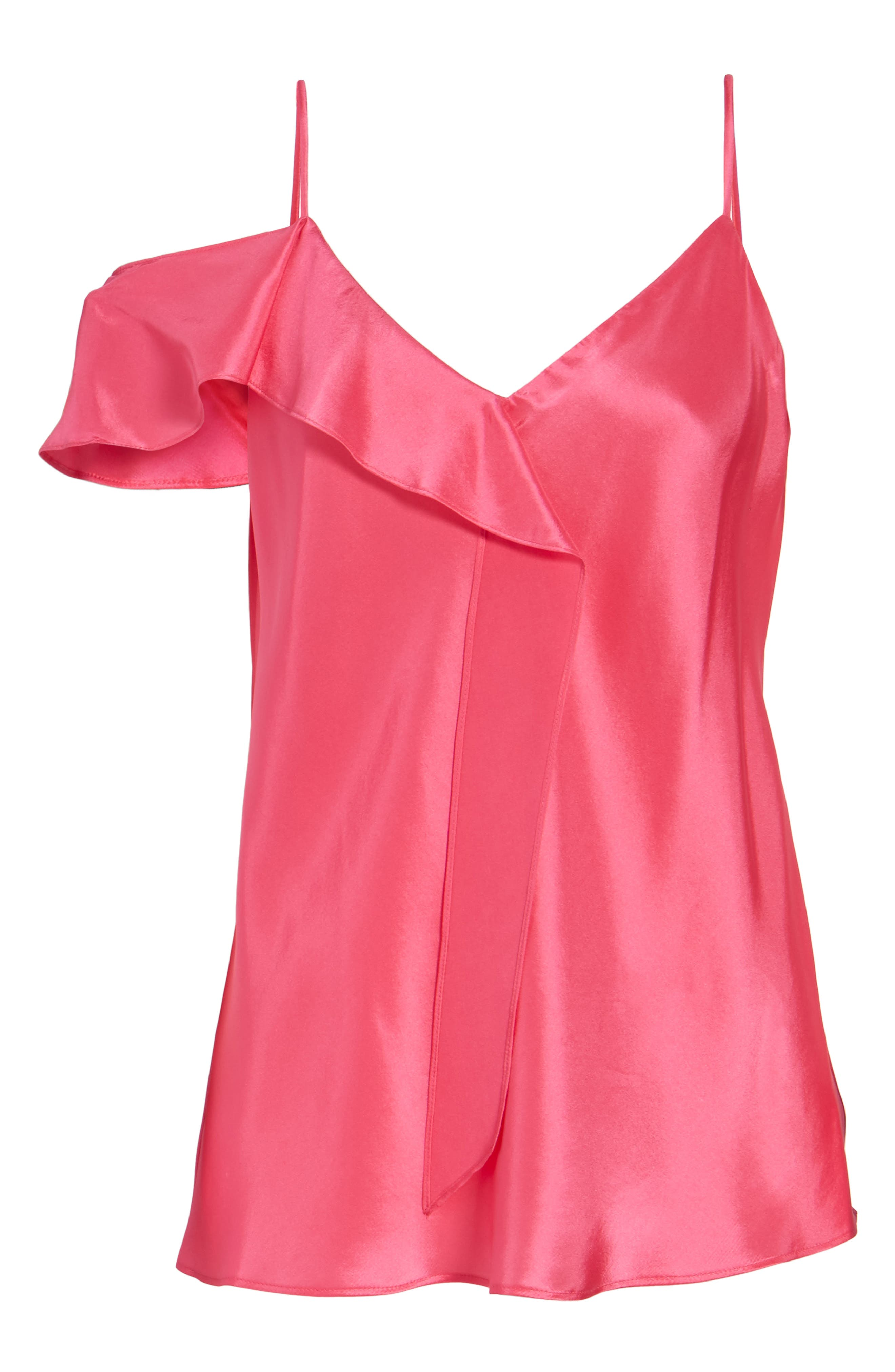 Ruffle Silk Camisole,                             Alternate thumbnail 6, color,                             Pink Rouge