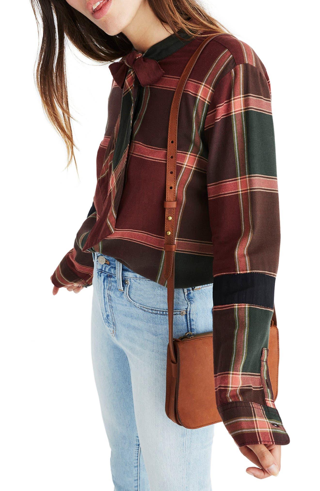 Plaid Tie Neck Shirt,                             Alternate thumbnail 3, color,                             Cherry Wood