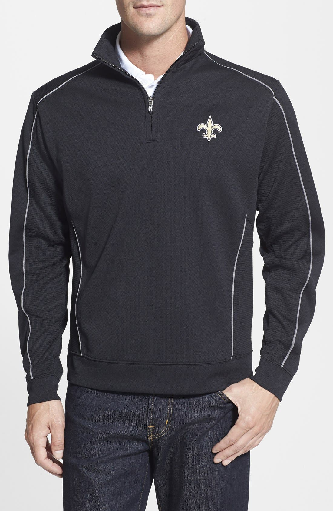 New Orleans Saints - Edge DryTec Moisture Wicking Half Zip Pullover,                         Main,                         color, Black