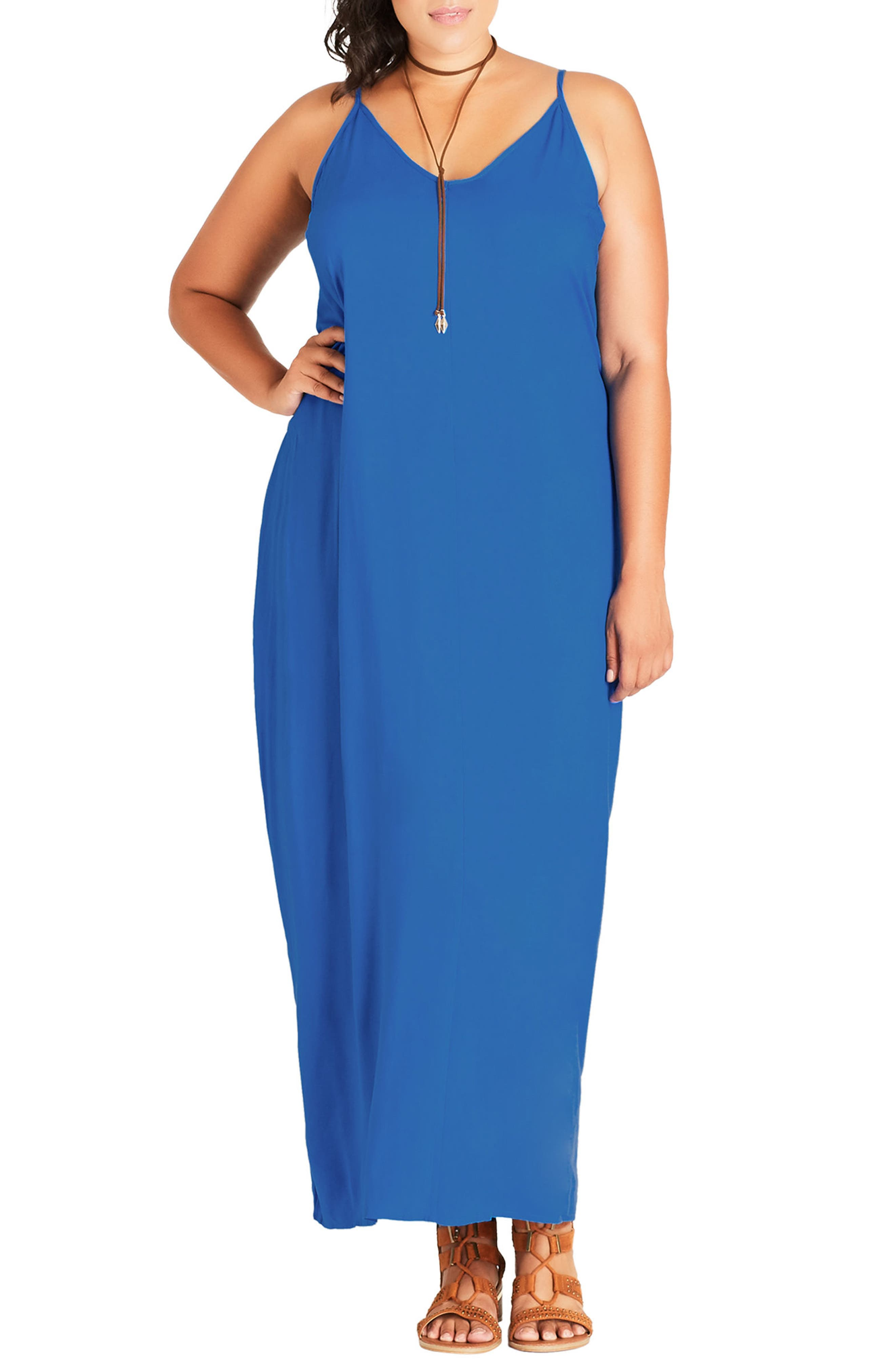 Alternate Image 1 Selected - City Chic V-Neck Maxi Dress (Plus Size)