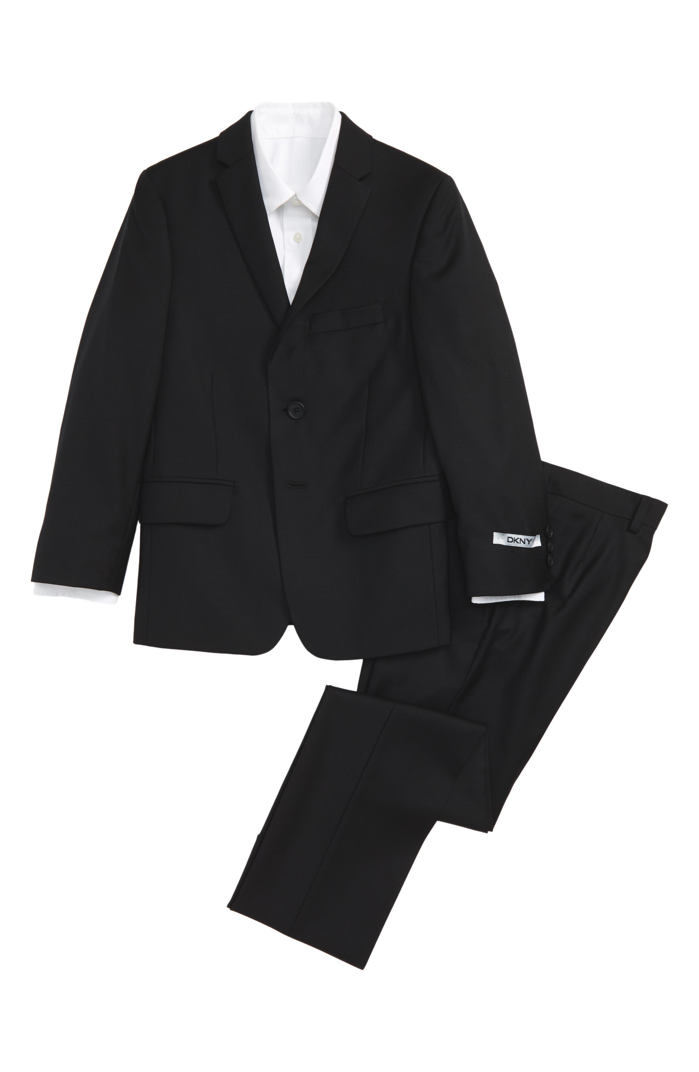 Main Image - DKNY Black Wool Suit (Big Boys)