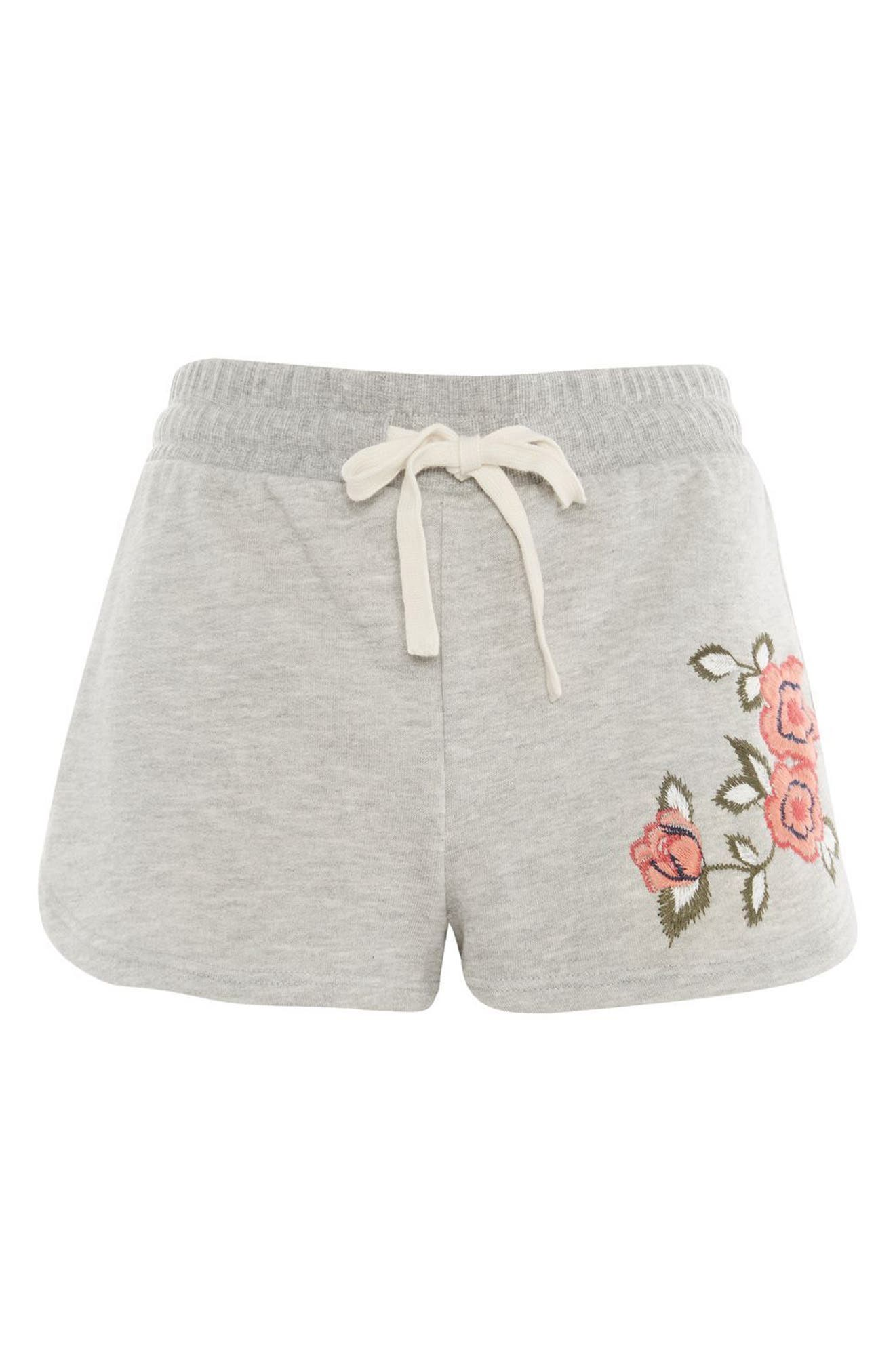 Floral Embroidered Lounge Shorts,                             Main thumbnail 1, color,                             Grey Multi