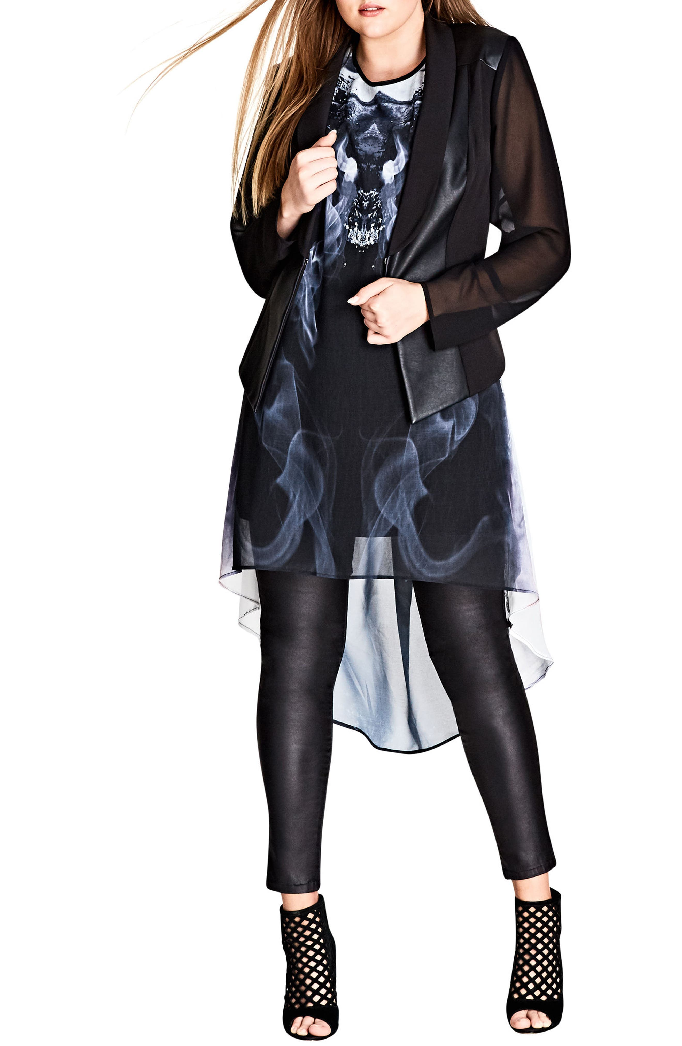 Alternate Image 3  - City Chic Mirror Marble Tunic (Plus Size)