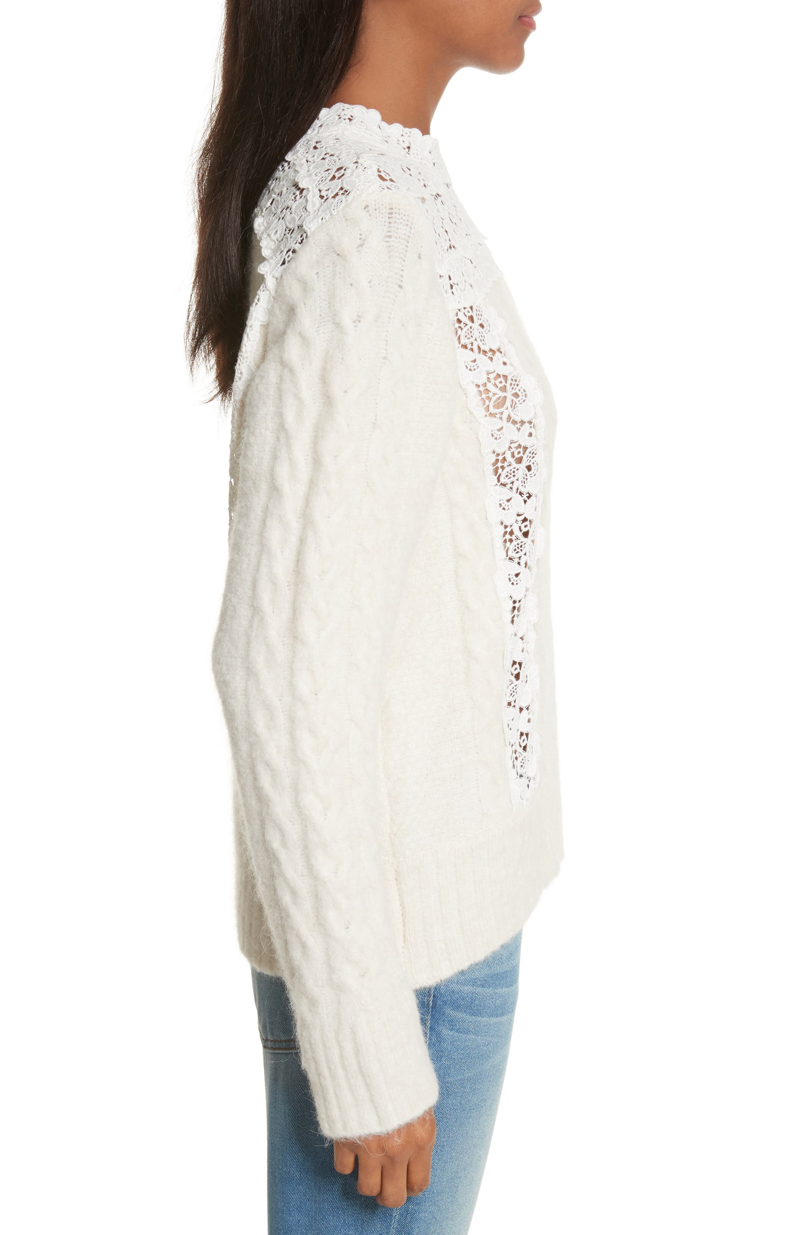 Lace Lace Inset Sweater,                             Alternate thumbnail 3, color,                             Cream
