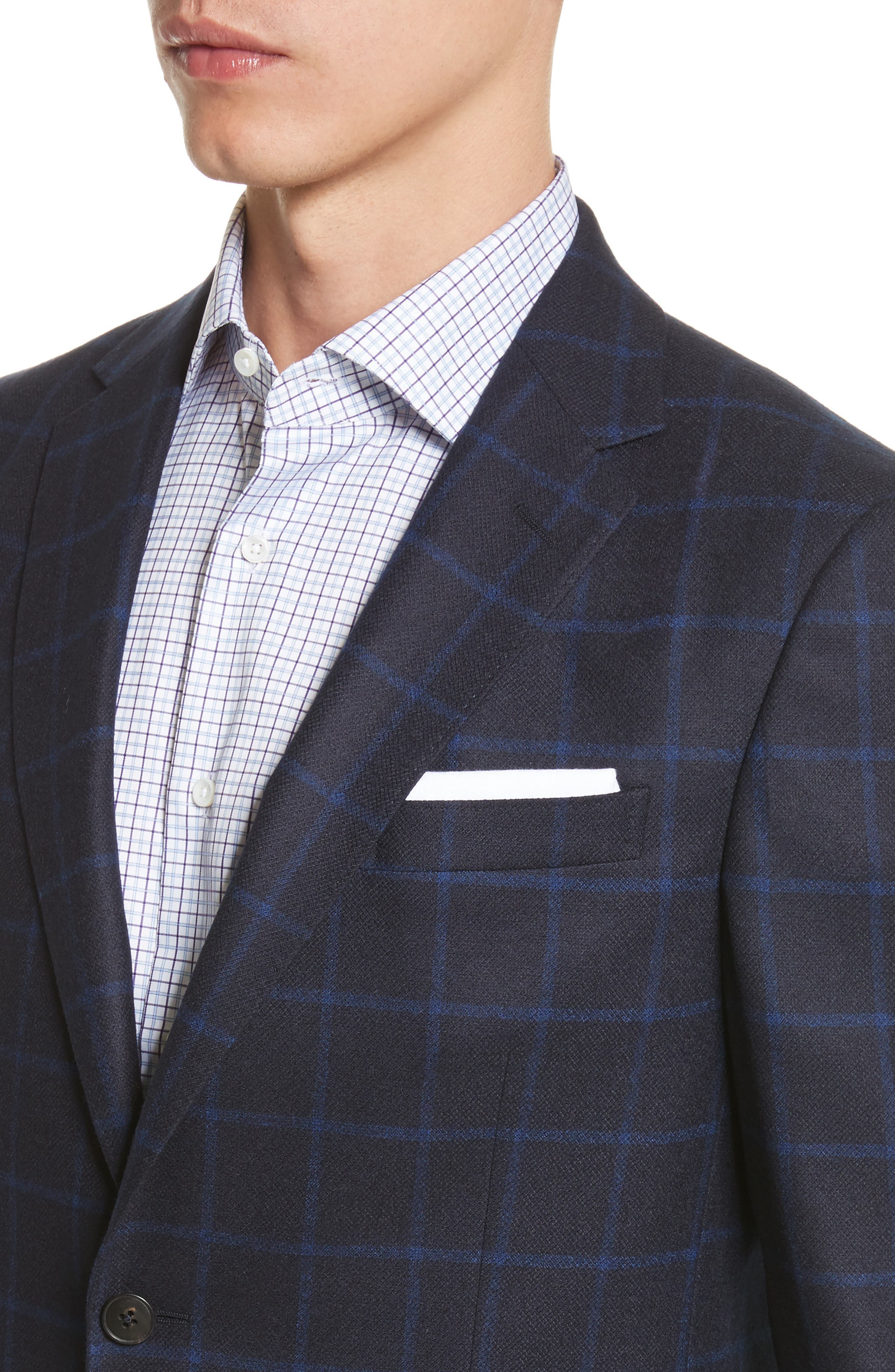 Classic Fit Check Wool Sport Coat,                             Alternate thumbnail 4, color,                             Navy Check