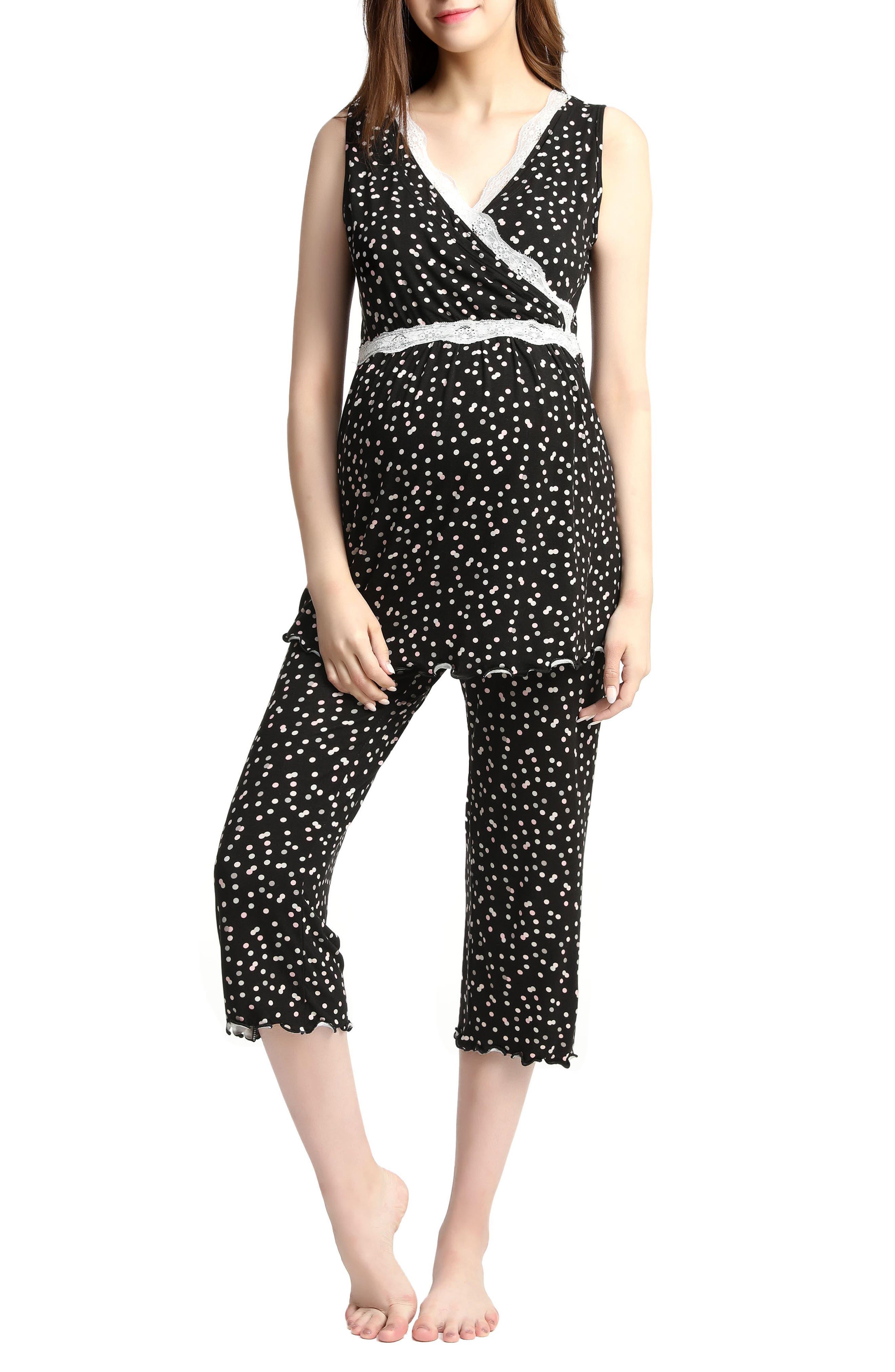 Kimi & Kai Loren Nursing/Maternity Pajamas,                             Main thumbnail 1, color,                             Black
