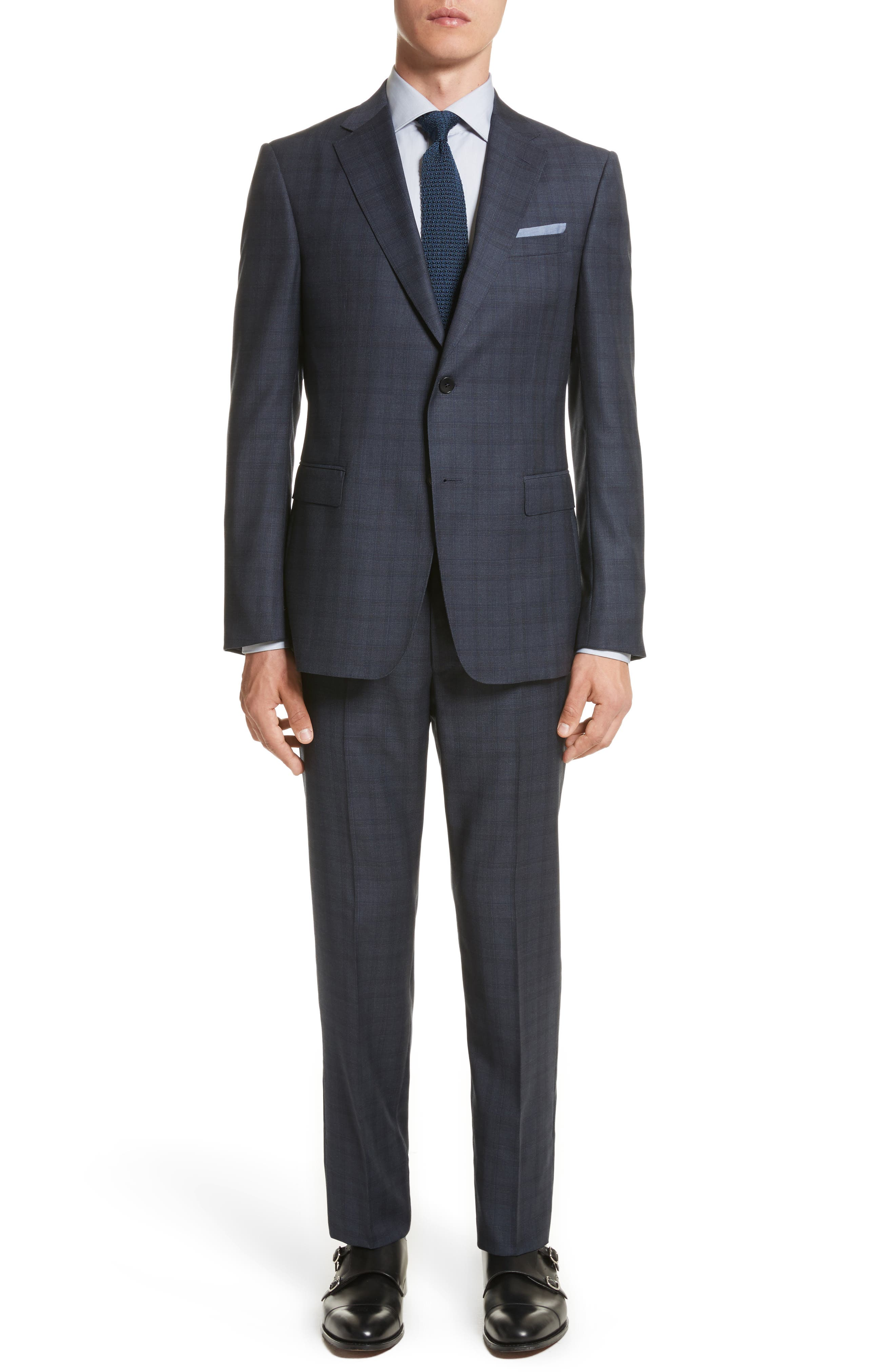 Classic Fit Check Wool Suit,                         Main,                         color, Navy Check