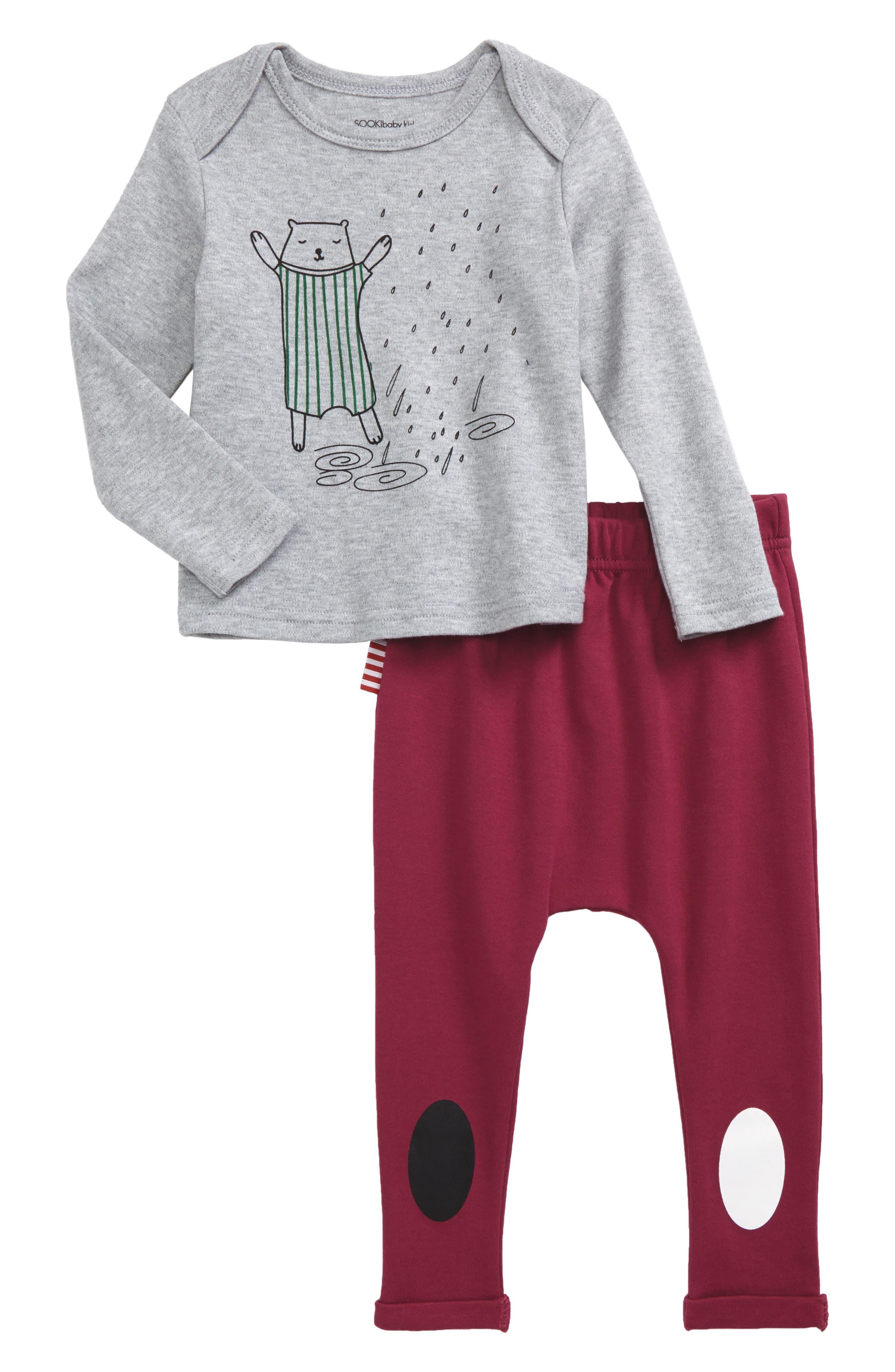 Christmas T-Shirt & Pants Set,                             Main thumbnail 1, color,                             Grey/ Red