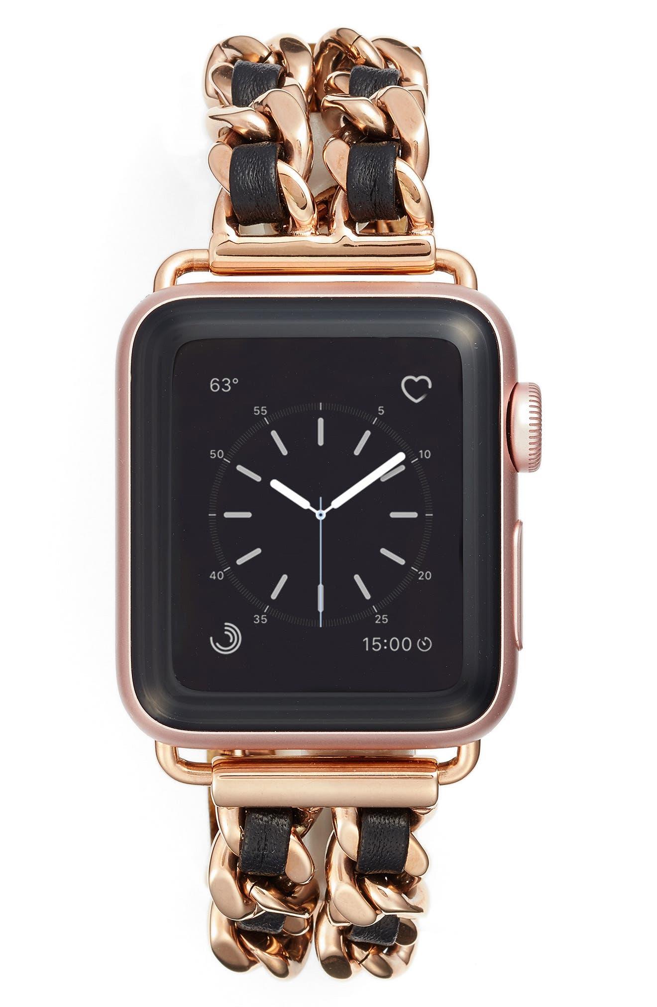 Chainlink Bracelet Apple Watch Band, 42mm,                         Main,                         color, Rose Gold/ Black