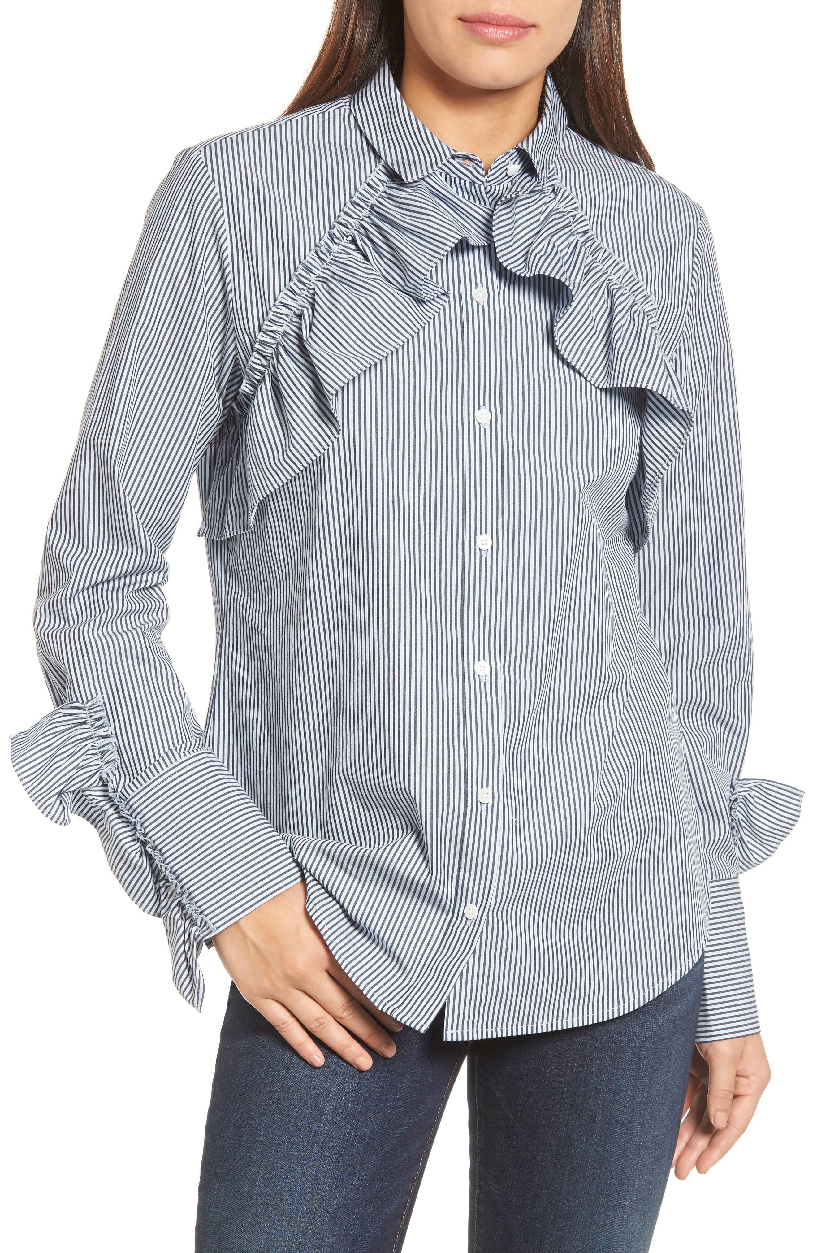 Kenneth Cole New York Ruffle Poplin Shirt