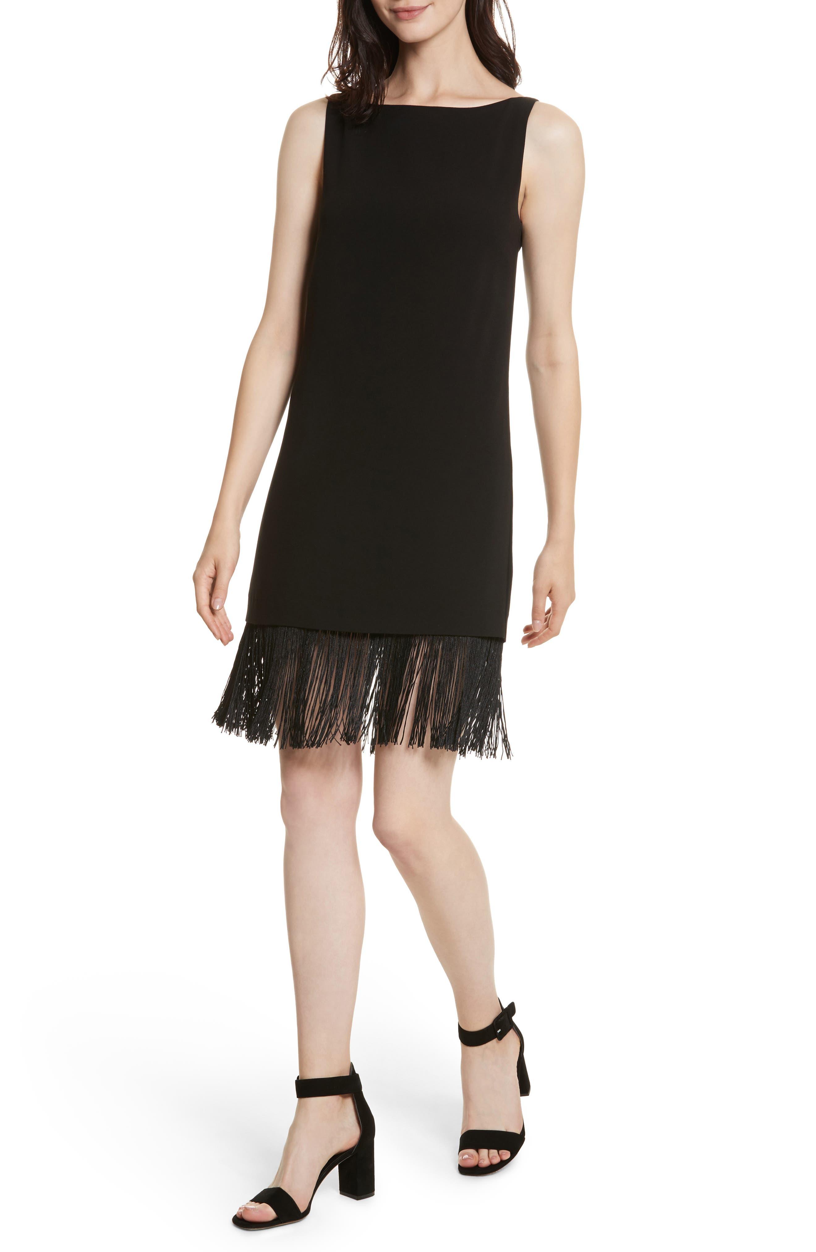 Ekon Fringe Hem Dress,                             Alternate thumbnail 4, color,                             Black