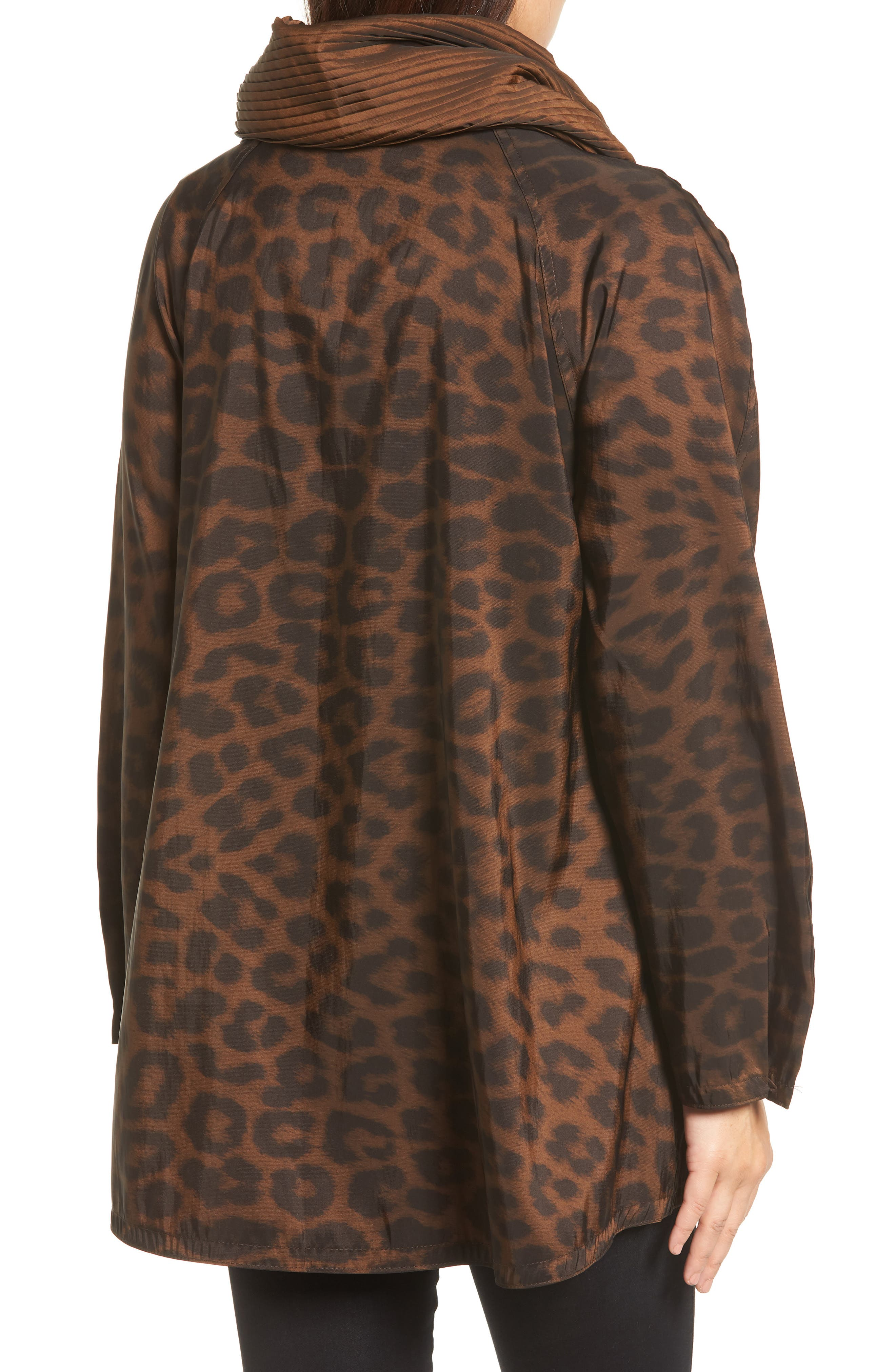 'Mini Donatella Leopard' Reversible Pleat Hood Packable Travel Coat,                             Alternate thumbnail 3, color,                             New Leopard