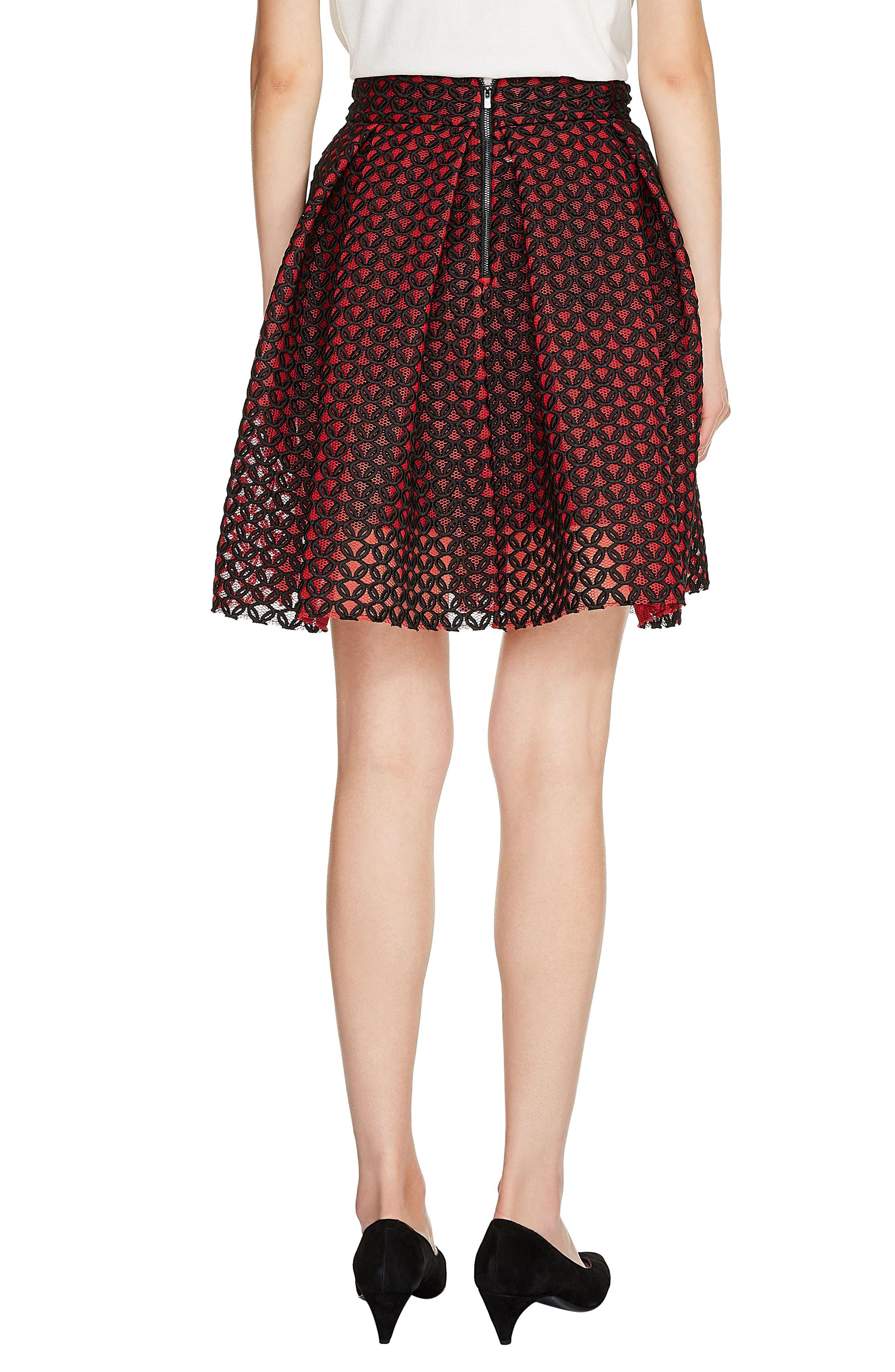 Guipure Skater Skirt,                             Alternate thumbnail 2, color,                             Rouge