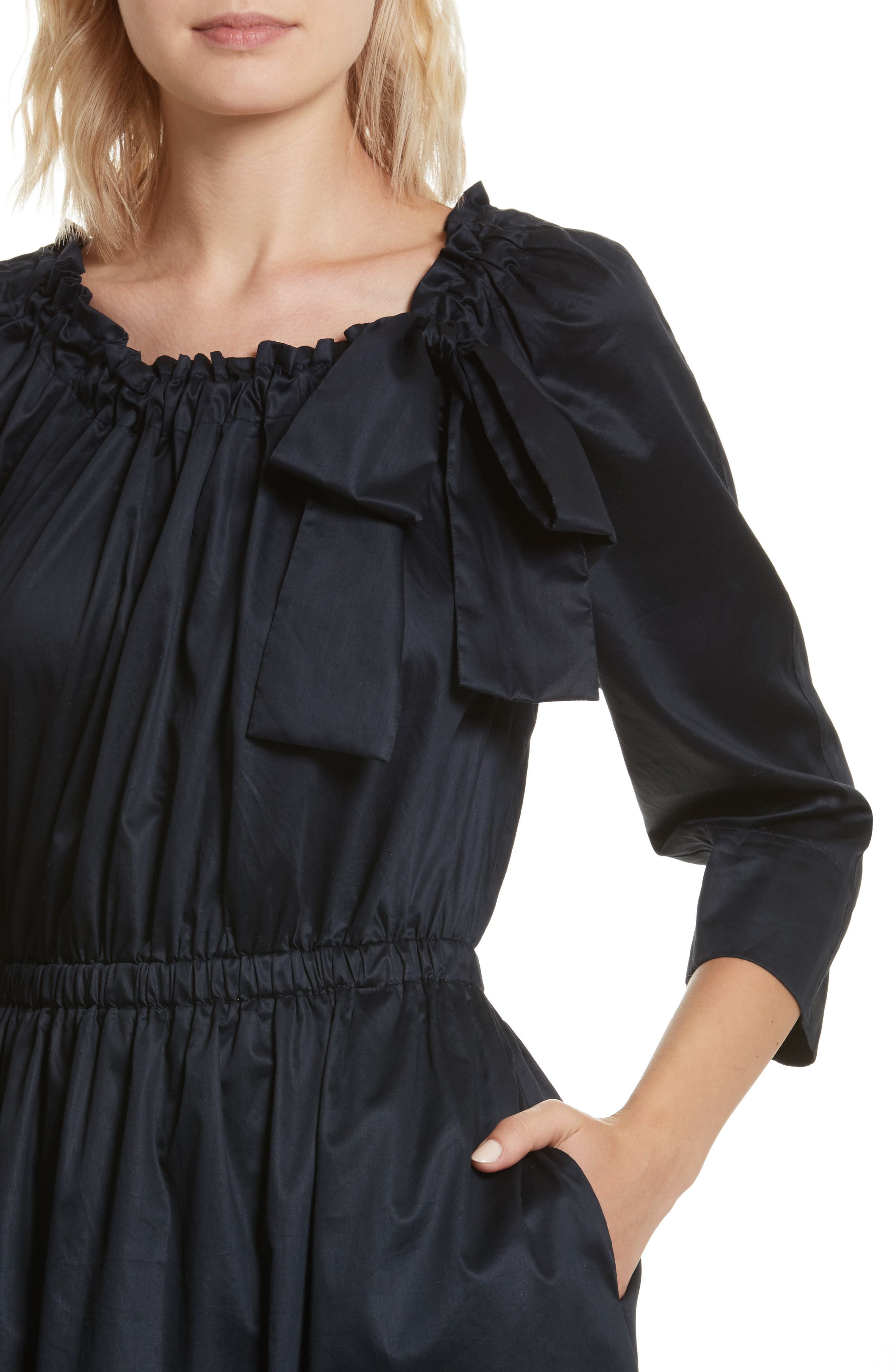 Bow Neck Washed Sateen Dress,                             Alternate thumbnail 4, color,                             Midnight Navy