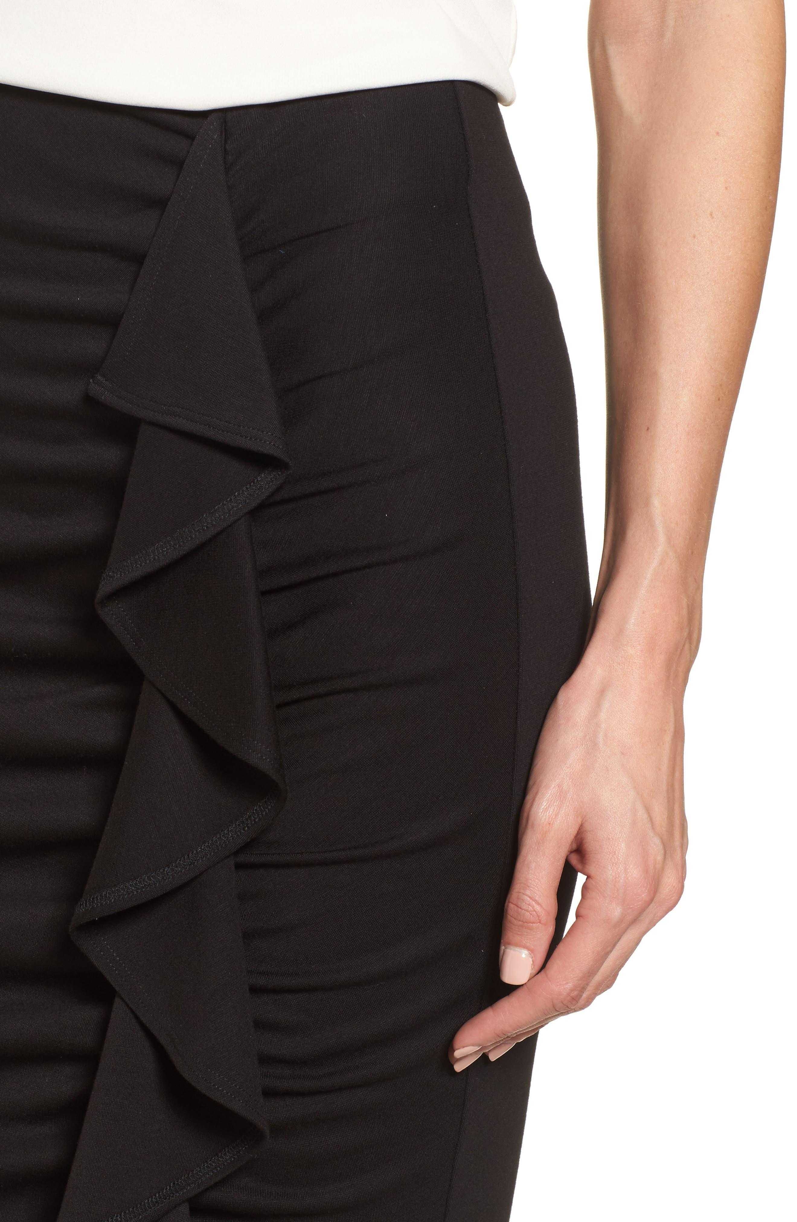 Side Ruffle Pencil Skirt,                             Alternate thumbnail 4, color,                             Black