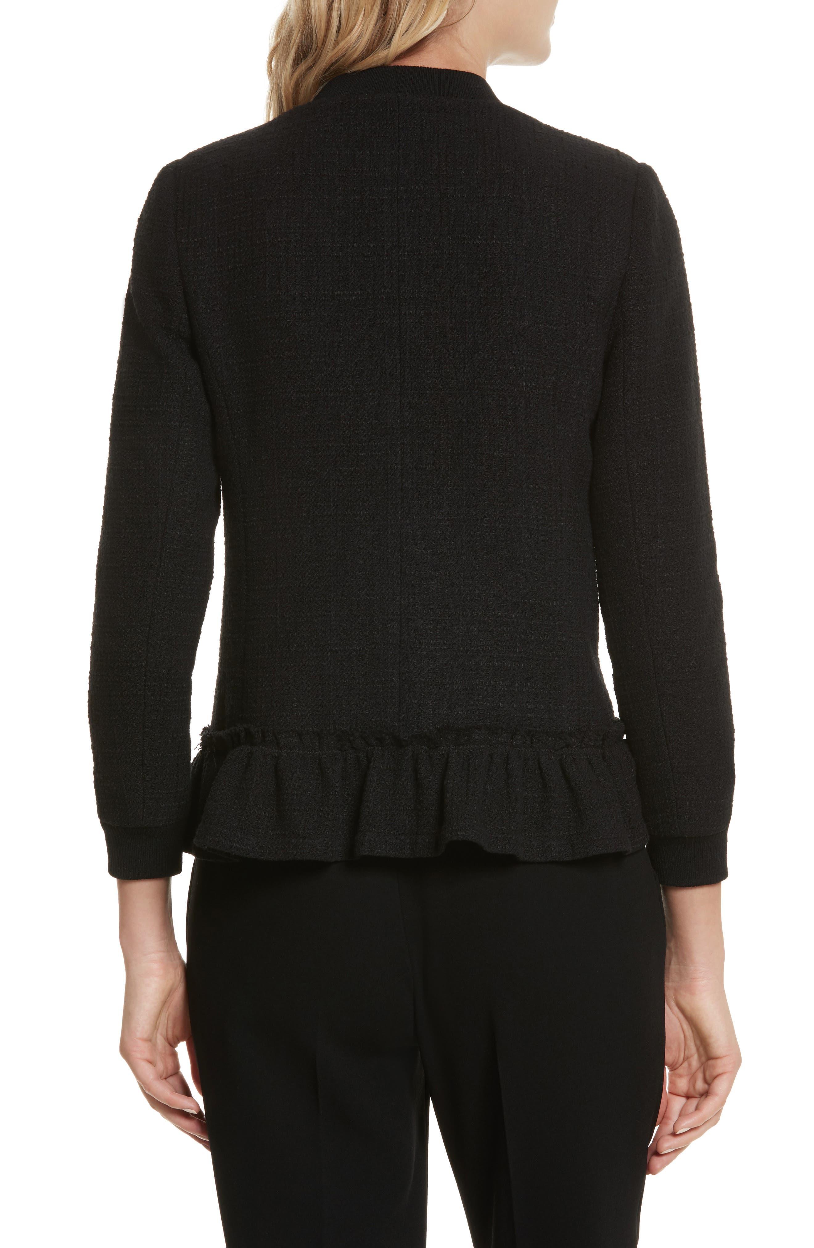 Textured Tweed Jacket,                             Alternate thumbnail 3, color,                             Black