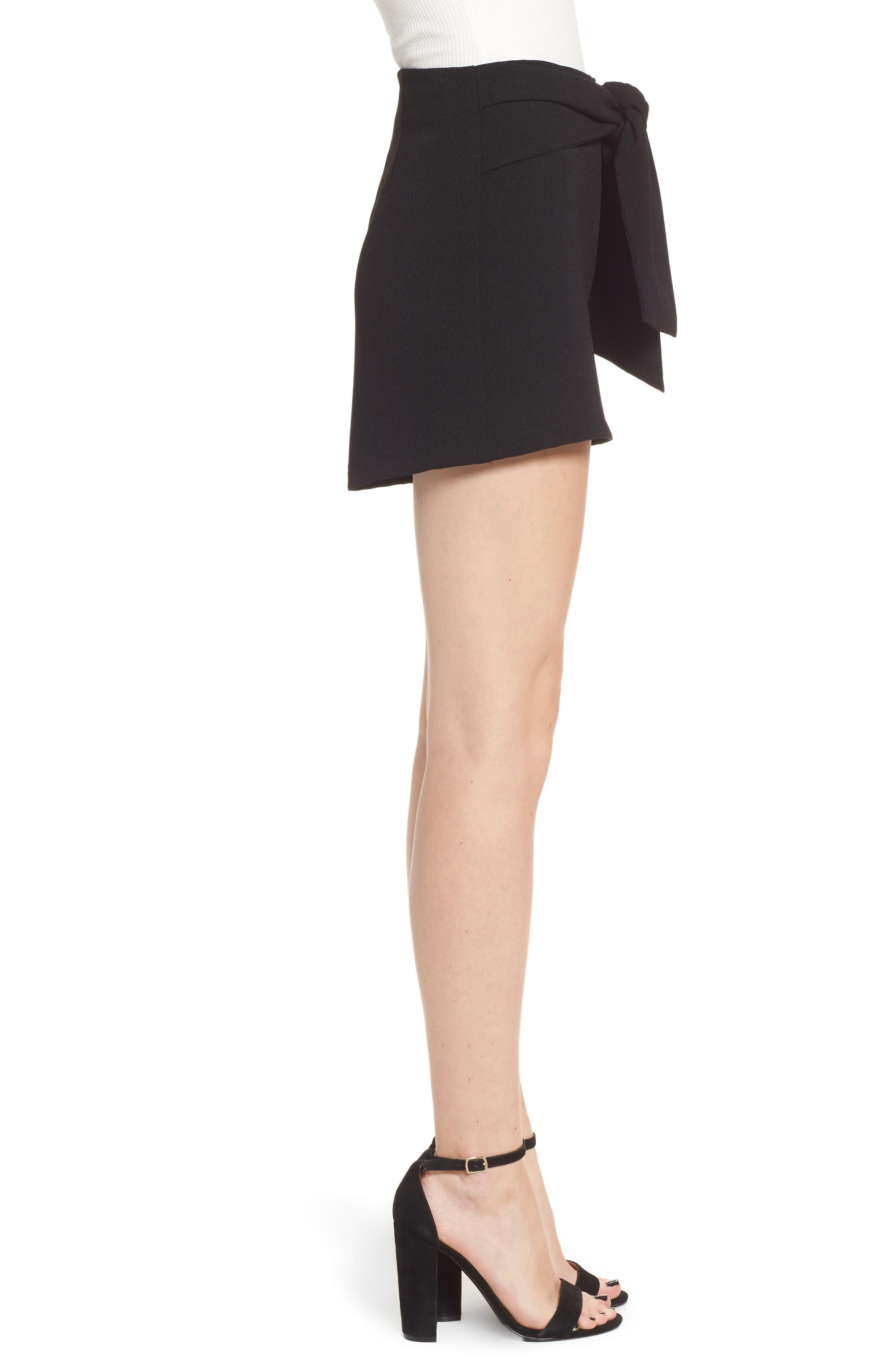 Tie Waist Shorts,                             Alternate thumbnail 3, color,                             Black