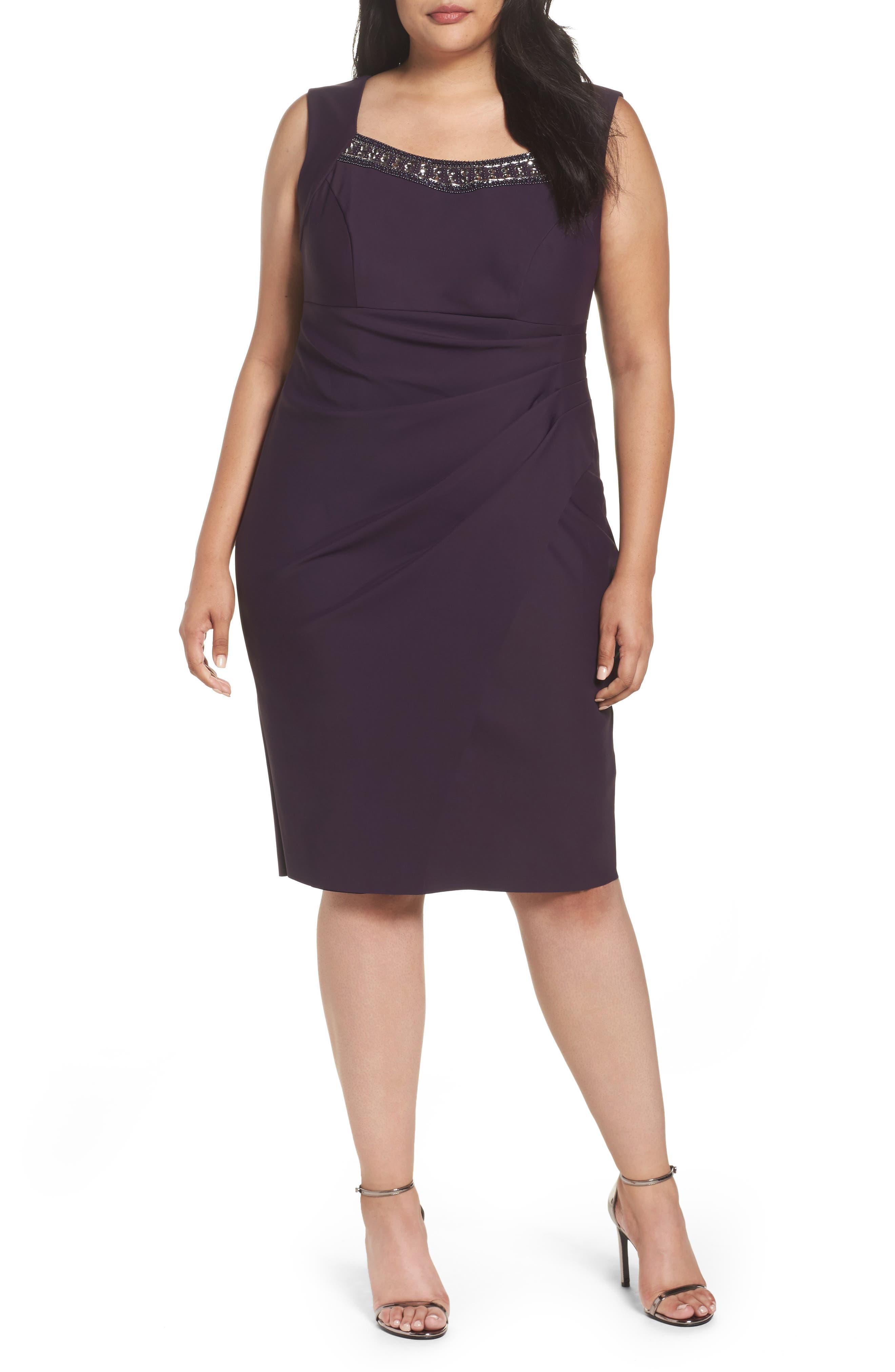 Embellished Square Neck Sleeveless Sheath Dress,                         Main,                         color, Aubergine